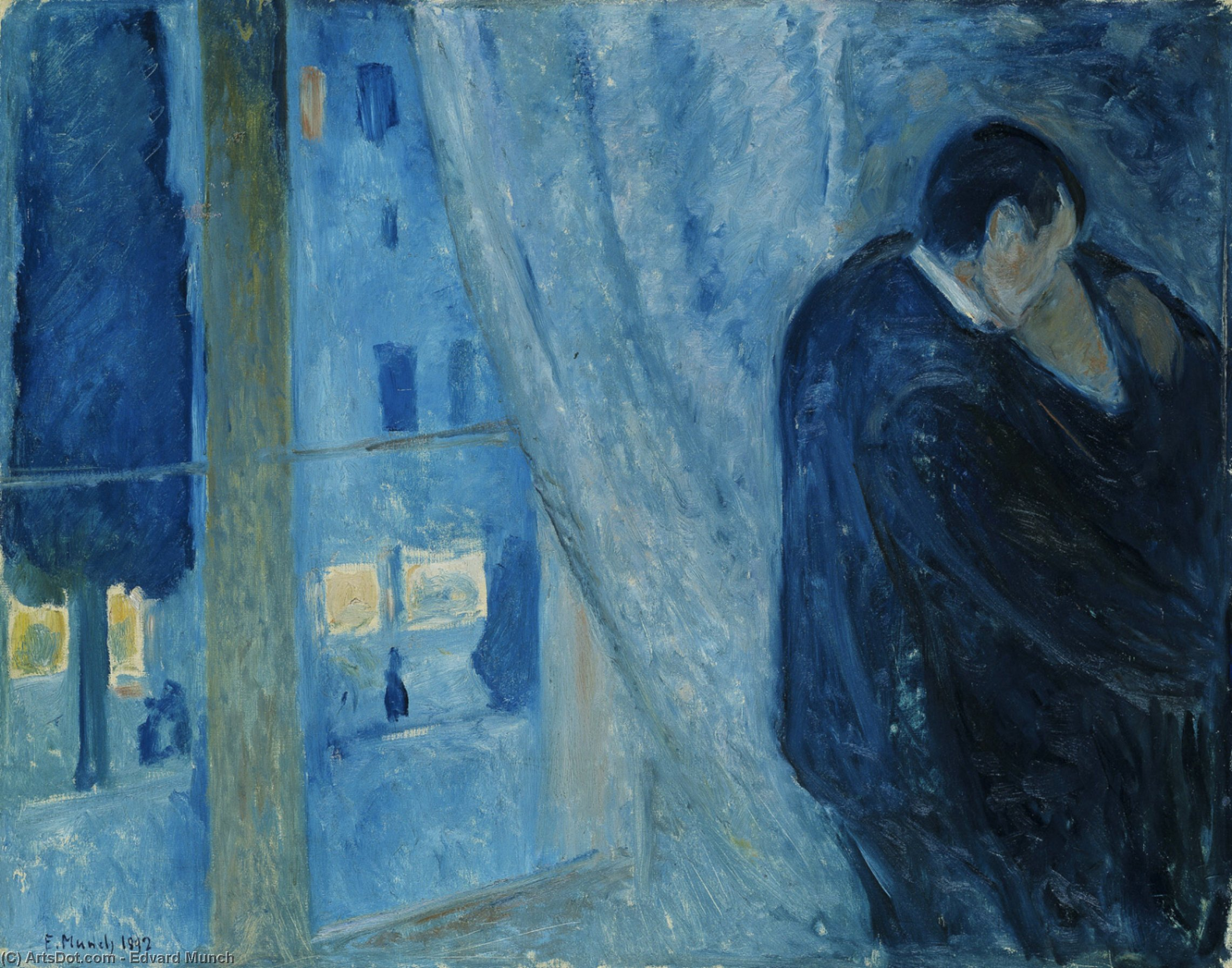 Wikioo.org - The Encyclopedia of Fine Arts - Painting, Artwork by Edvard Munch - Kiss by the window