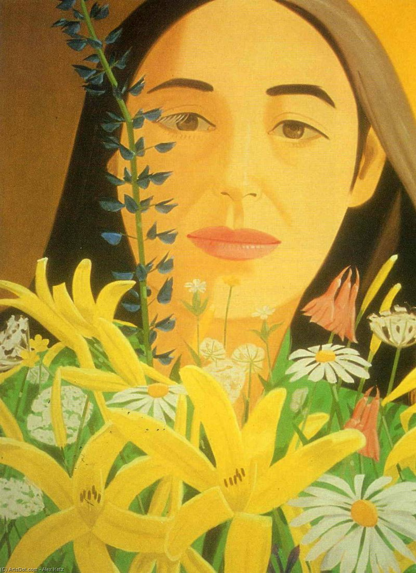 Wikioo.org - The Encyclopedia of Fine Arts - Painting, Artwork by Alex Katz - Ada with Flowers
