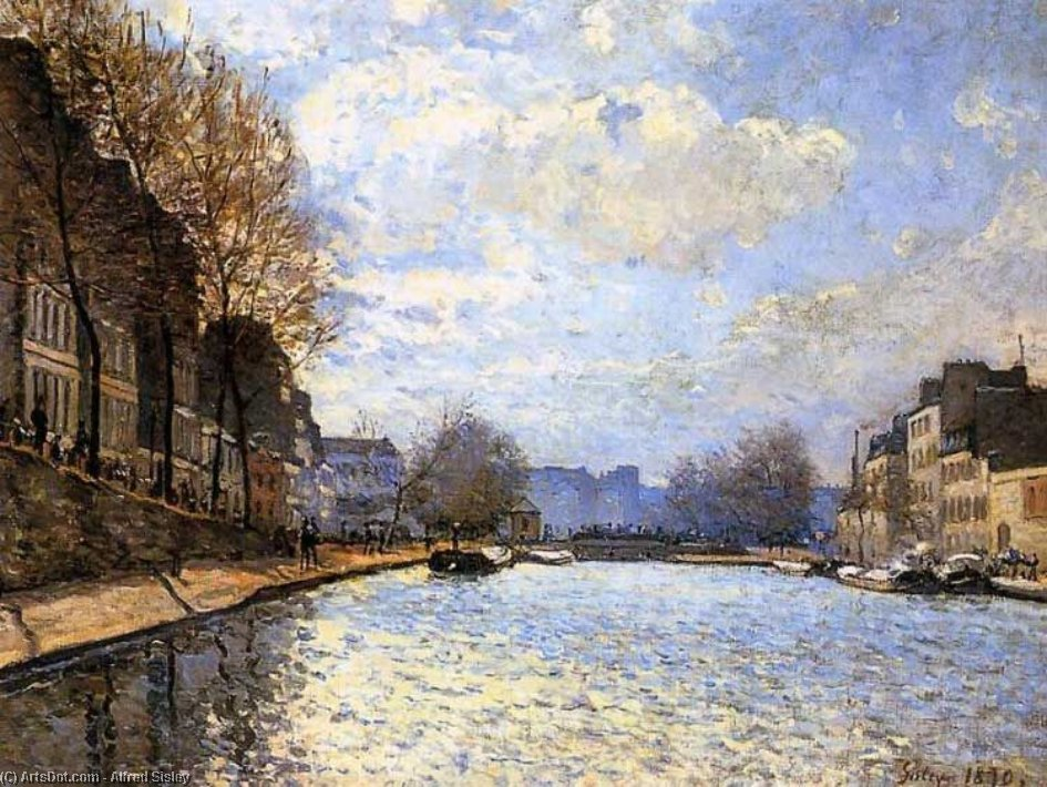 Wikioo.org - The Encyclopedia of Fine Arts - Painting, Artwork by Alfred Sisley - The Saint Martin Canal in Paris