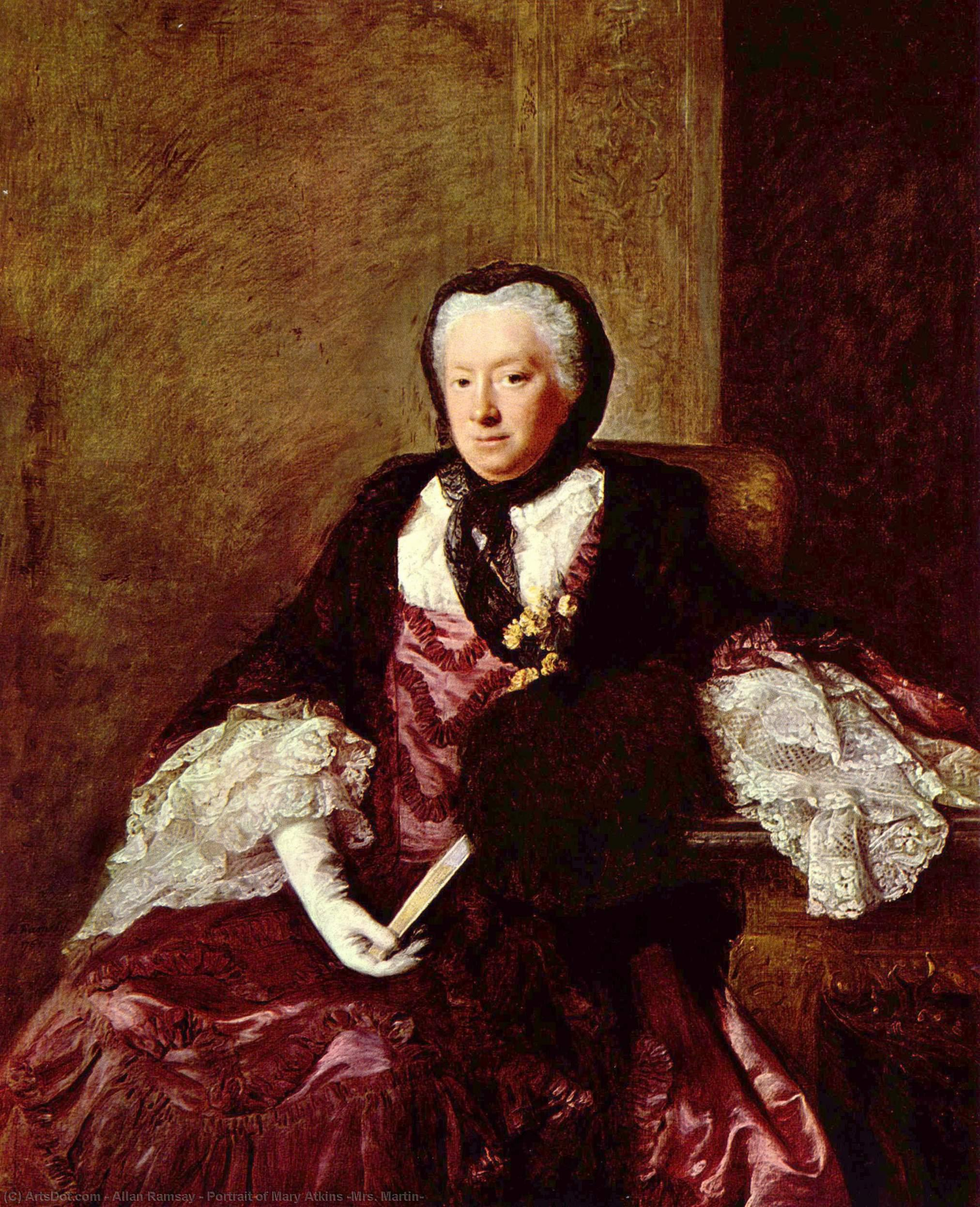 Wikioo.org - The Encyclopedia of Fine Arts - Painting, Artwork by Allan Ramsay - Portrait of Mary Atkins (Mrs. Martin)