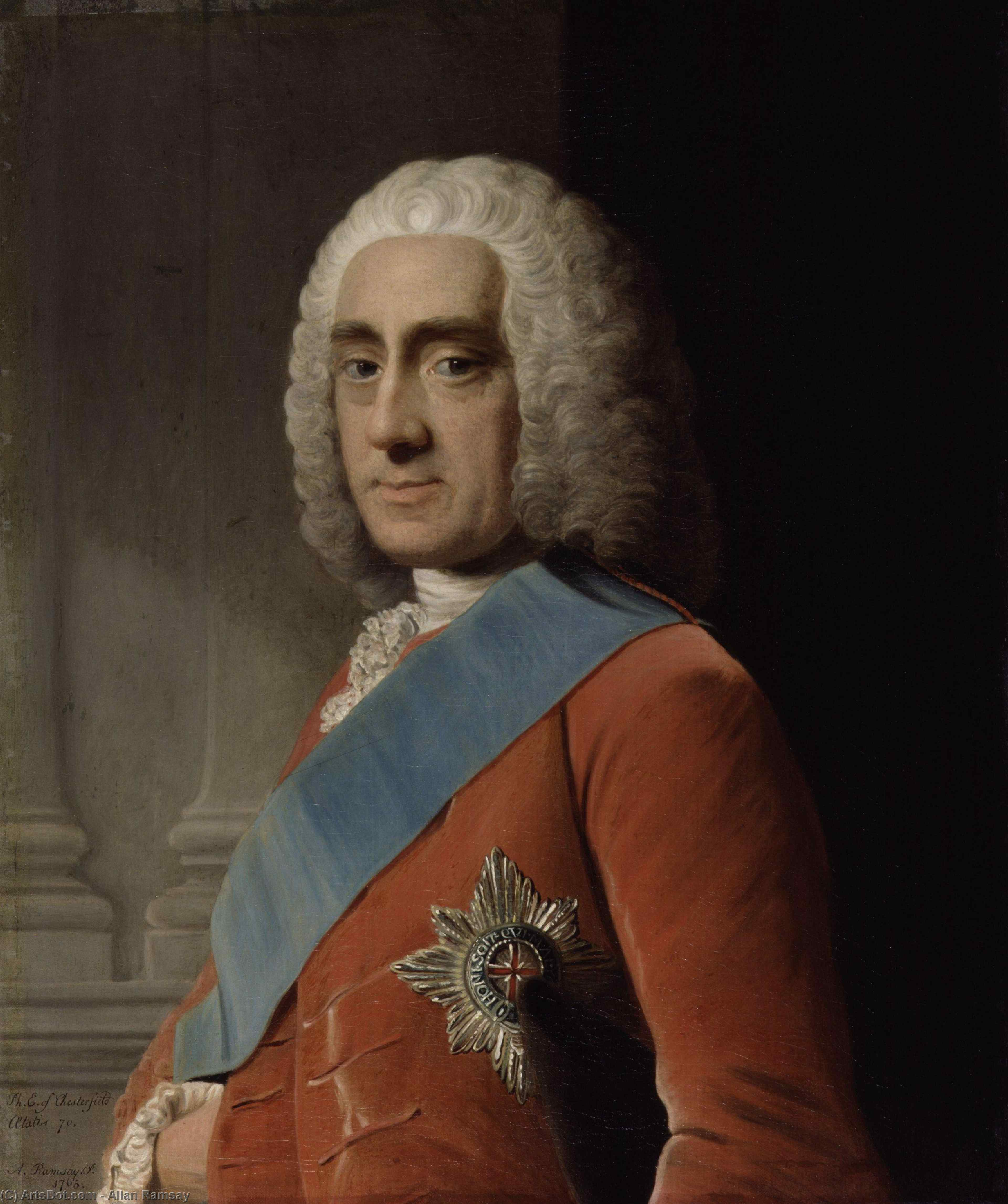 Wikioo.org - The Encyclopedia of Fine Arts - Painting, Artwork by Allan Ramsay - Philip Dormer Stanhope, 4th Earl of Chesterfield