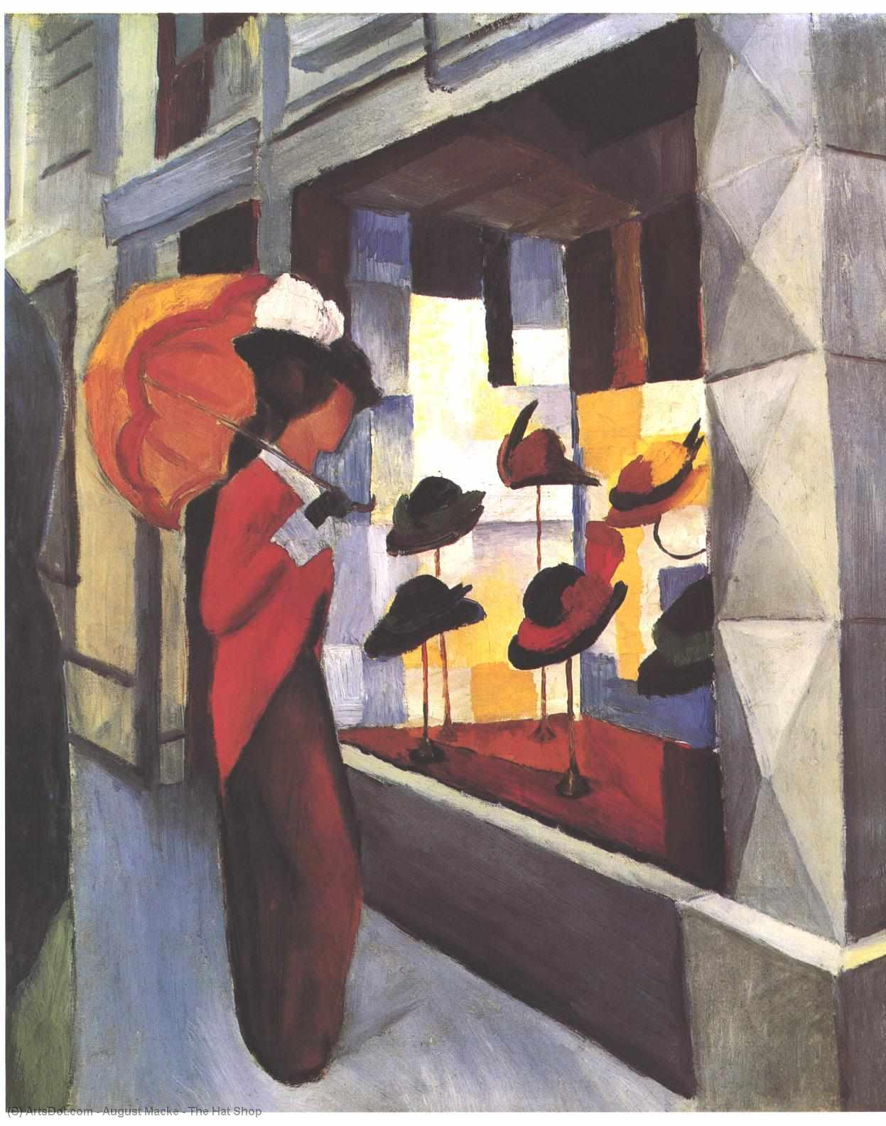 Wikioo.org - The Encyclopedia of Fine Arts - Painting, Artwork by August Macke - The Hat Shop