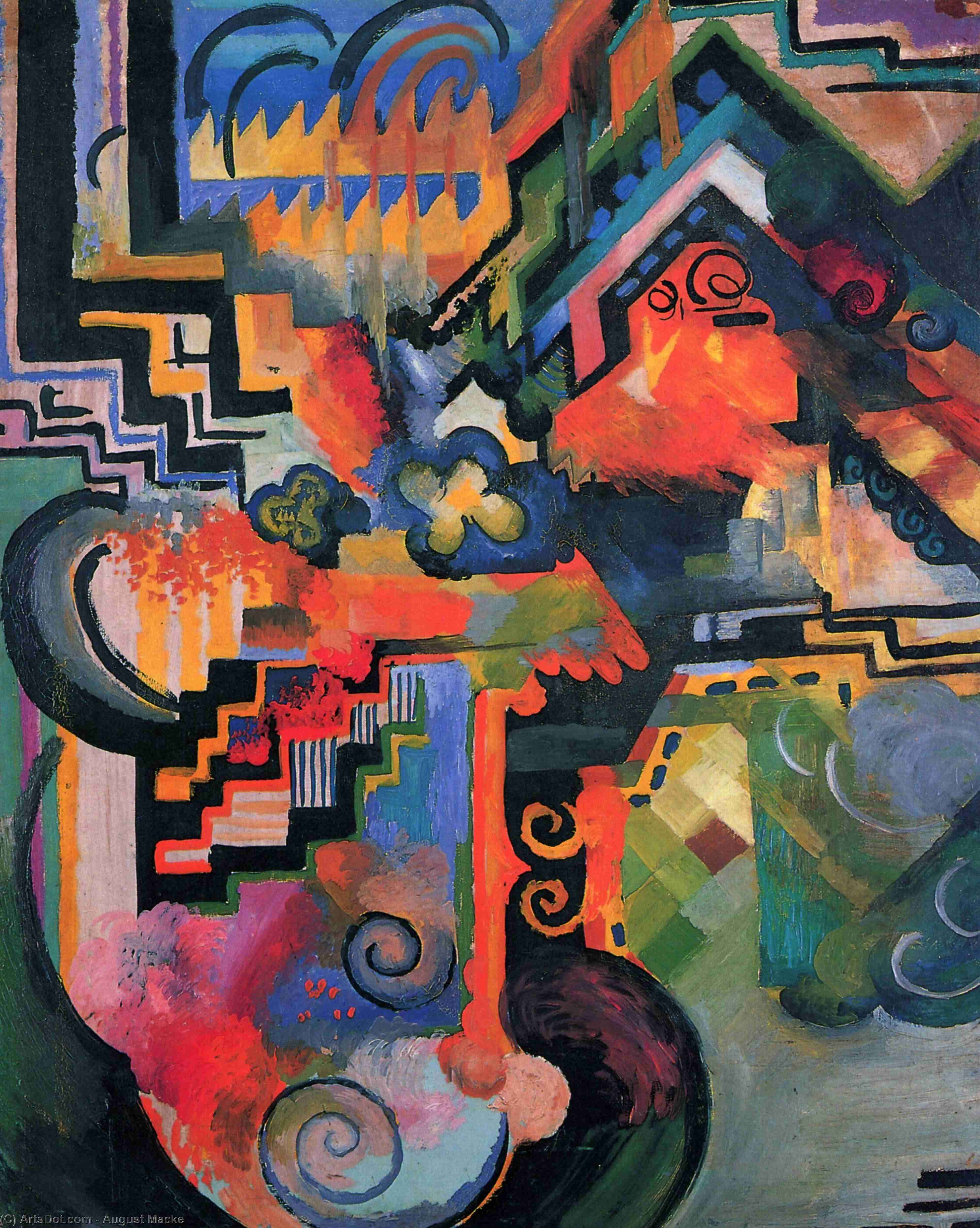 Wikioo.org - The Encyclopedia of Fine Arts - Painting, Artwork by August Macke - Colored composition (Hommage to Johann Sebastian Bachh)