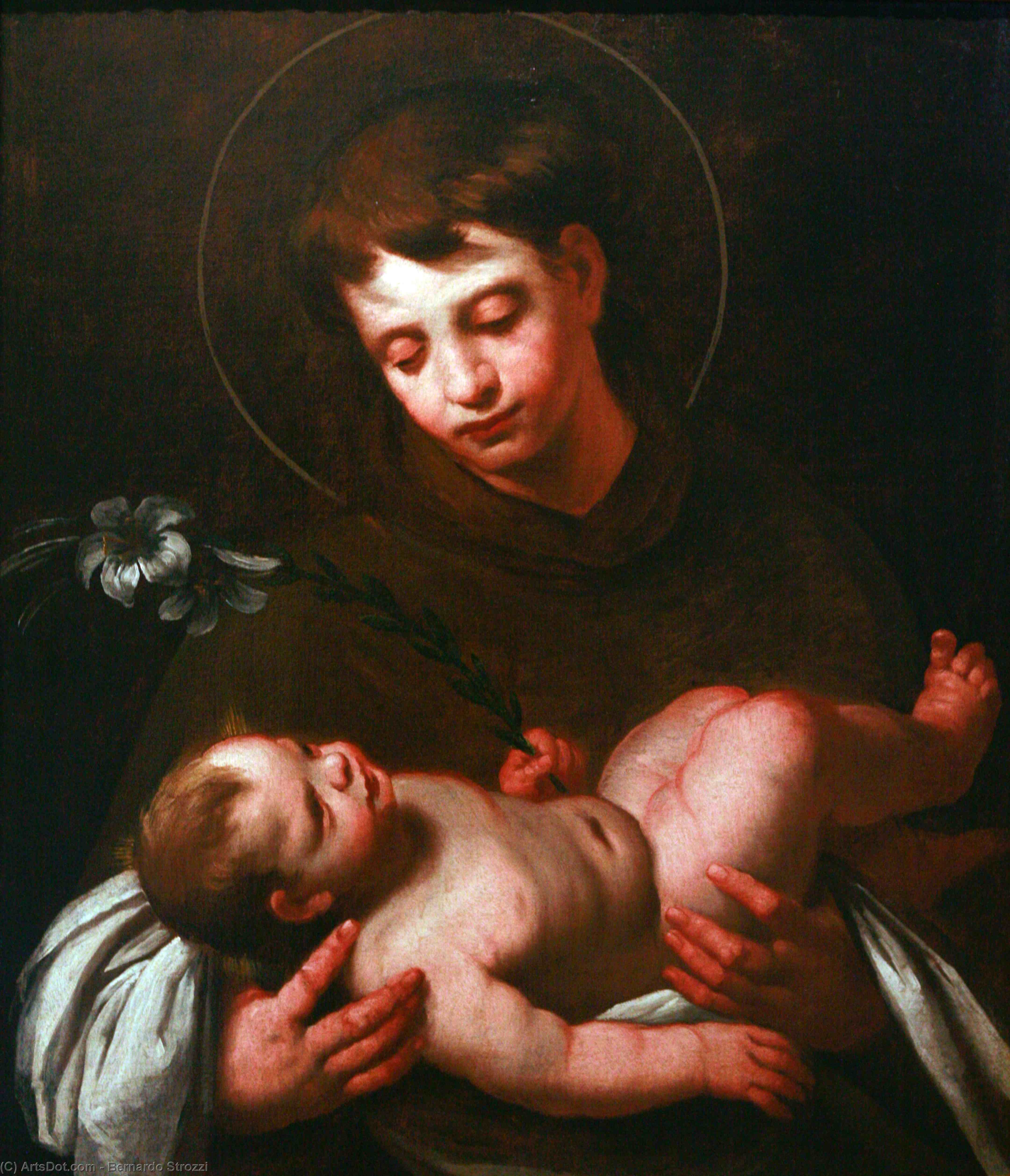 Wikioo.org - The Encyclopedia of Fine Arts - Painting, Artwork by Bernardo Strozzi - Saint Antony of Padua holding Baby Jesus