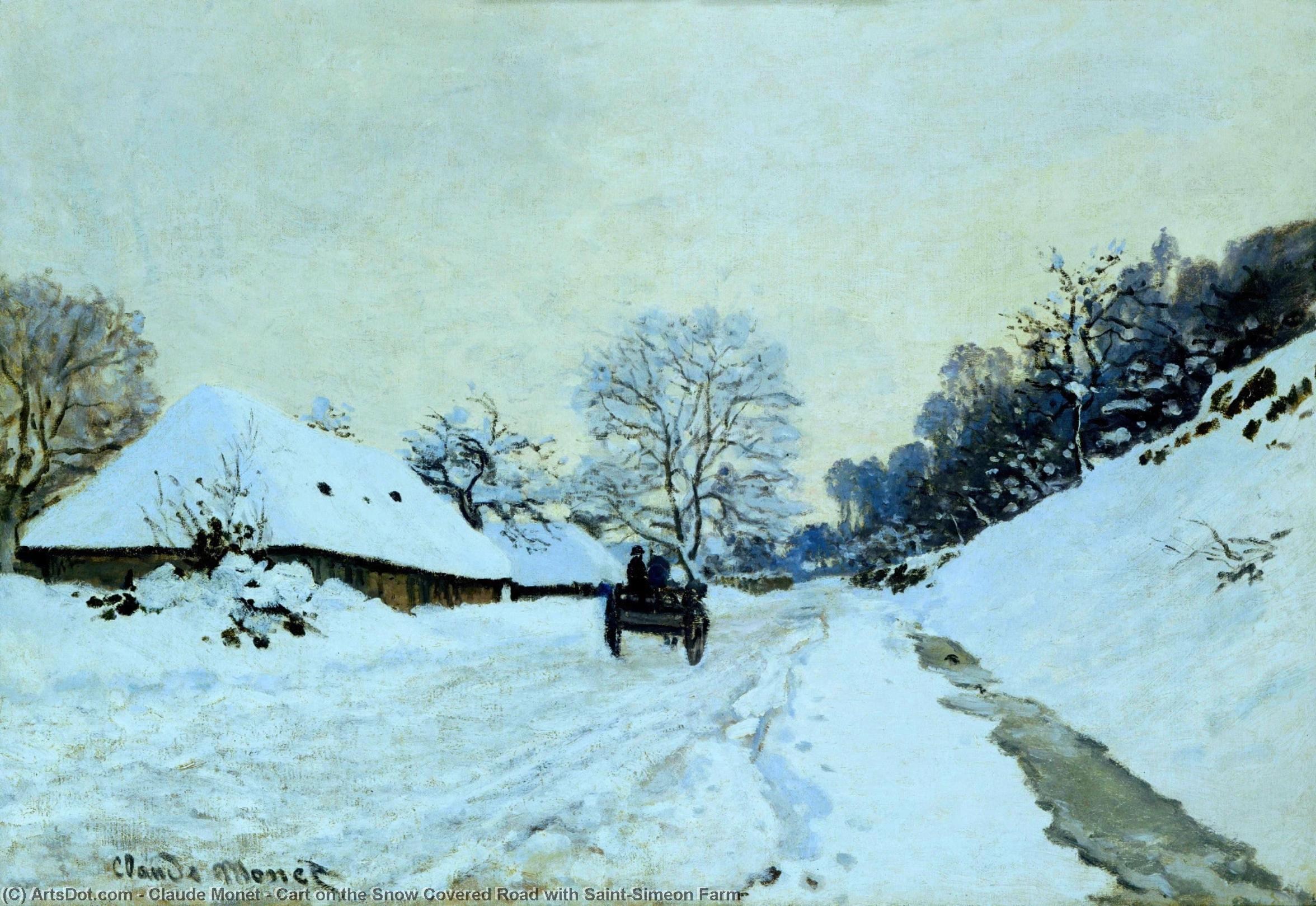 Wikioo.org - The Encyclopedia of Fine Arts - Painting, Artwork by Claude Monet - Cart on the Snow Covered Road with Saint-Simeon Farm