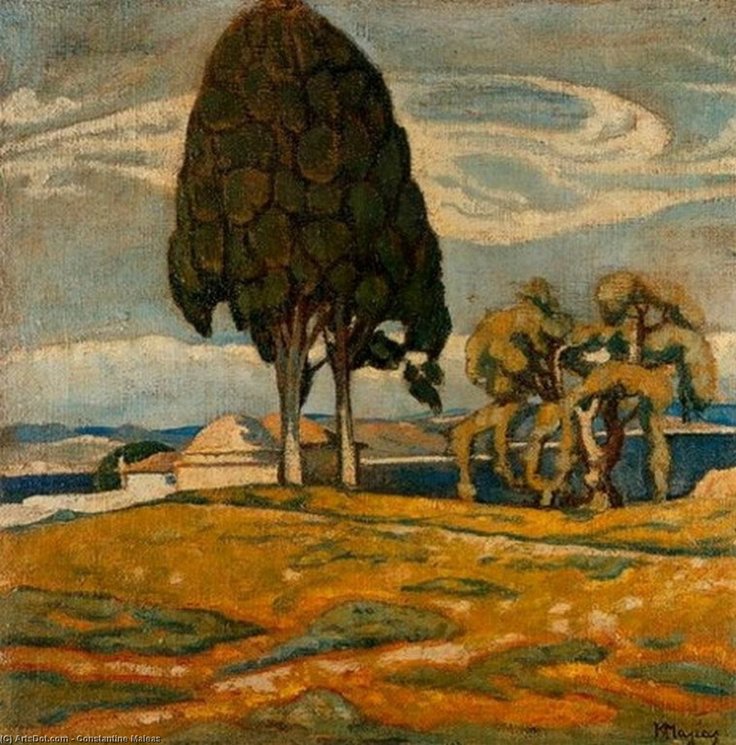 Wikioo.org - The Encyclopedia of Fine Arts - Painting, Artwork by Konstantinos Maleas - Church with trees