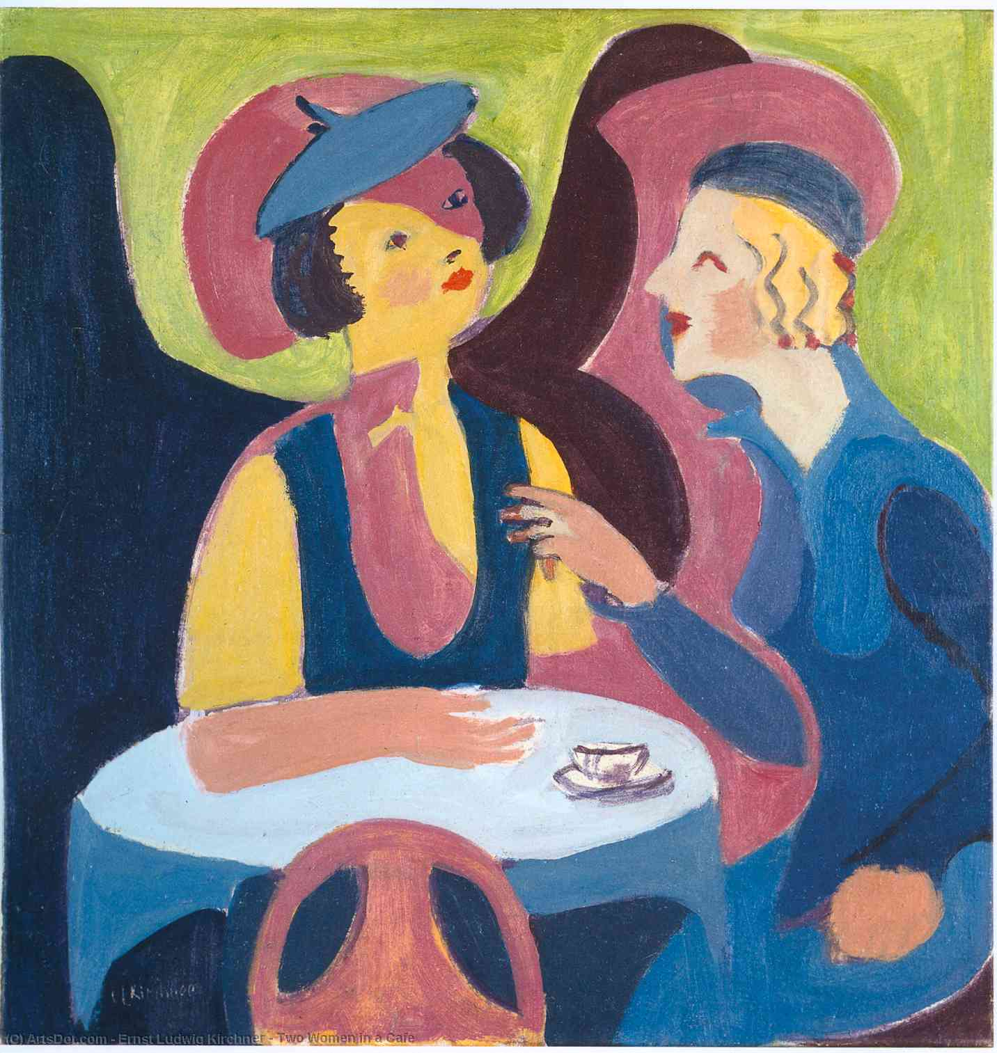 Wikioo.org - The Encyclopedia of Fine Arts - Painting, Artwork by Ernst Ludwig Kirchner - Two Women in a Cafe