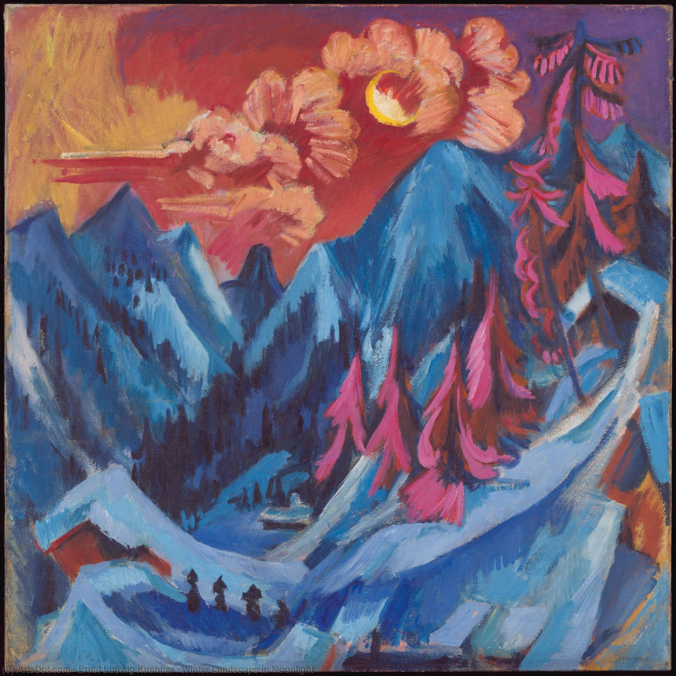 Wikioo.org - The Encyclopedia of Fine Arts - Painting, Artwork by Ernst Ludwig Kirchner - Winter Landscape in Moonlight