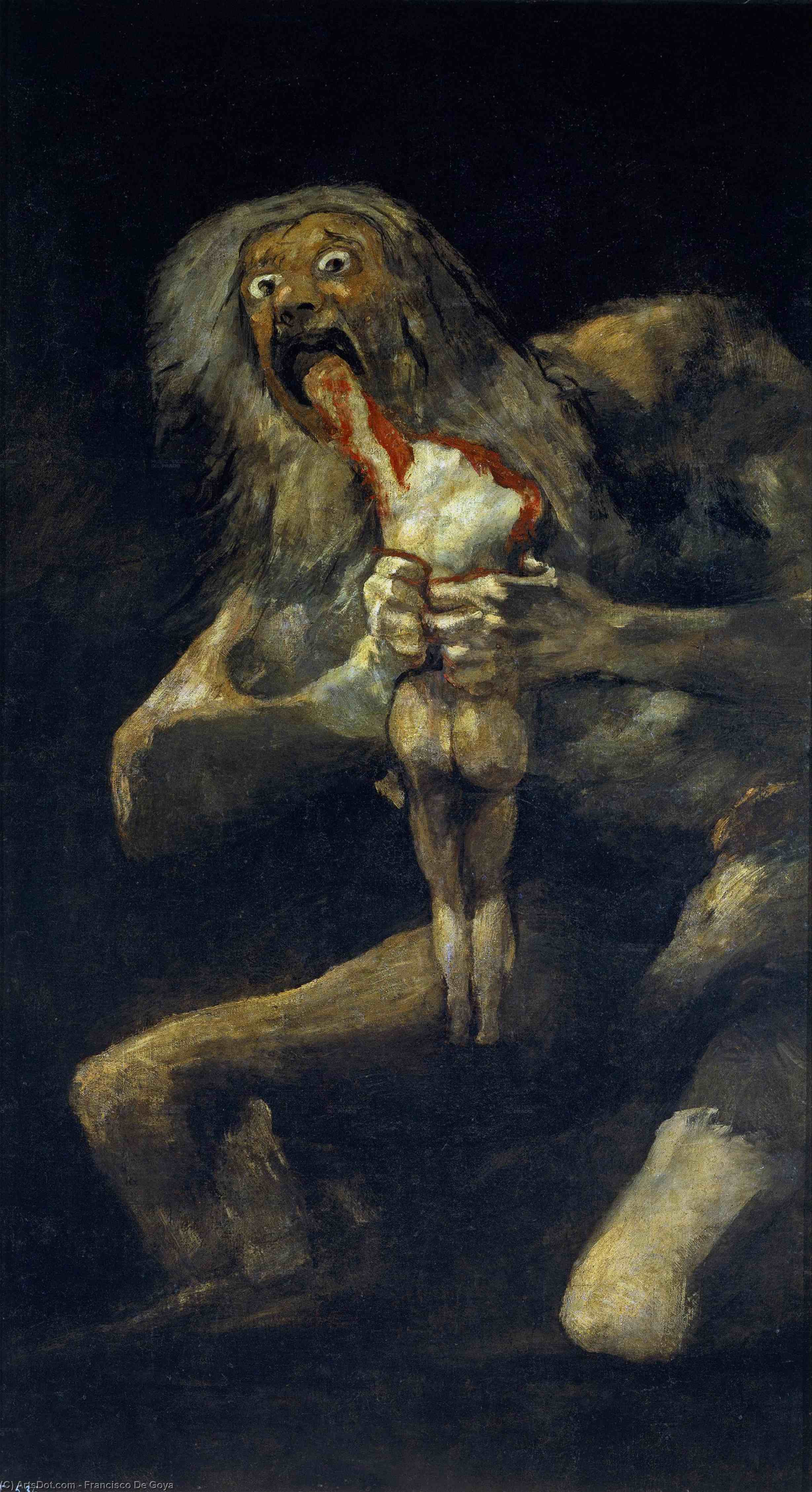 Wikioo.org - The Encyclopedia of Fine Arts - Painting, Artwork by Francisco De Goya - Saturn Devouring His Son