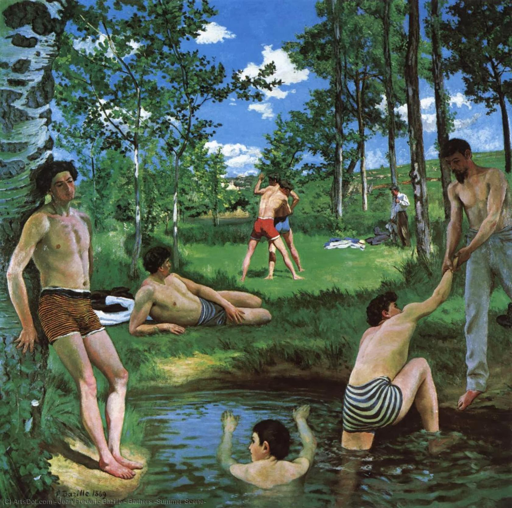 Wikioo.org - The Encyclopedia of Fine Arts - Painting, Artwork by Jean Frederic Bazille - Bathers (Summer Scene)