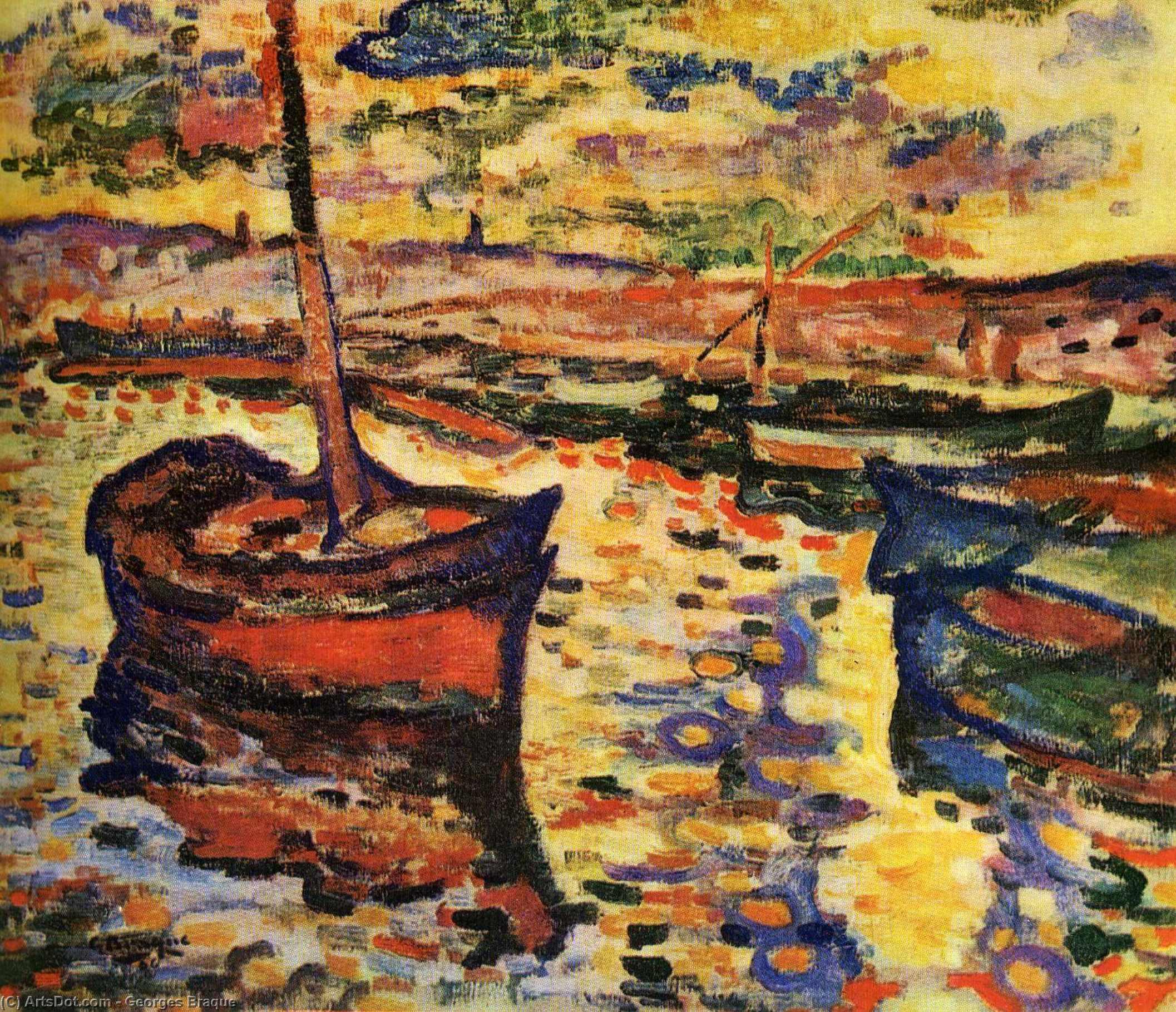 Wikoo.org - موسوعة الفنون الجميلة - اللوحة، العمل الفني Georges Braque - The Harbor