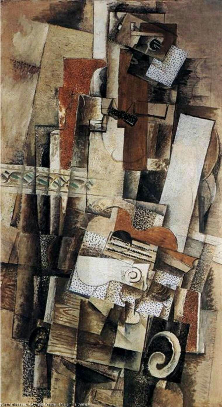 Wikioo.org - The Encyclopedia of Fine Arts - Painting, Artwork by Georges Braque - Man with a Guitar