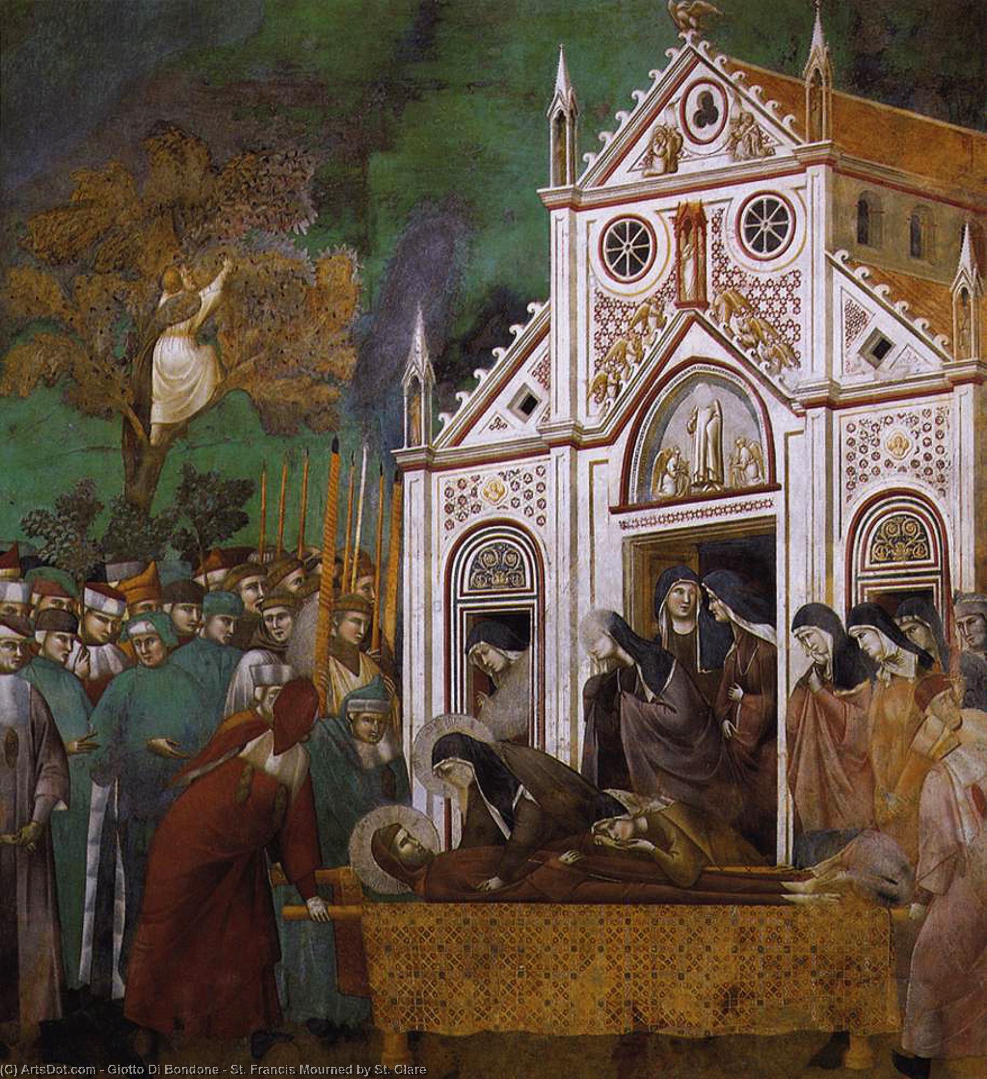 WikiOO.org - Enciklopedija dailės - Tapyba, meno kuriniai Giotto Di Bondone - St. Francis Mourned by St. Clare