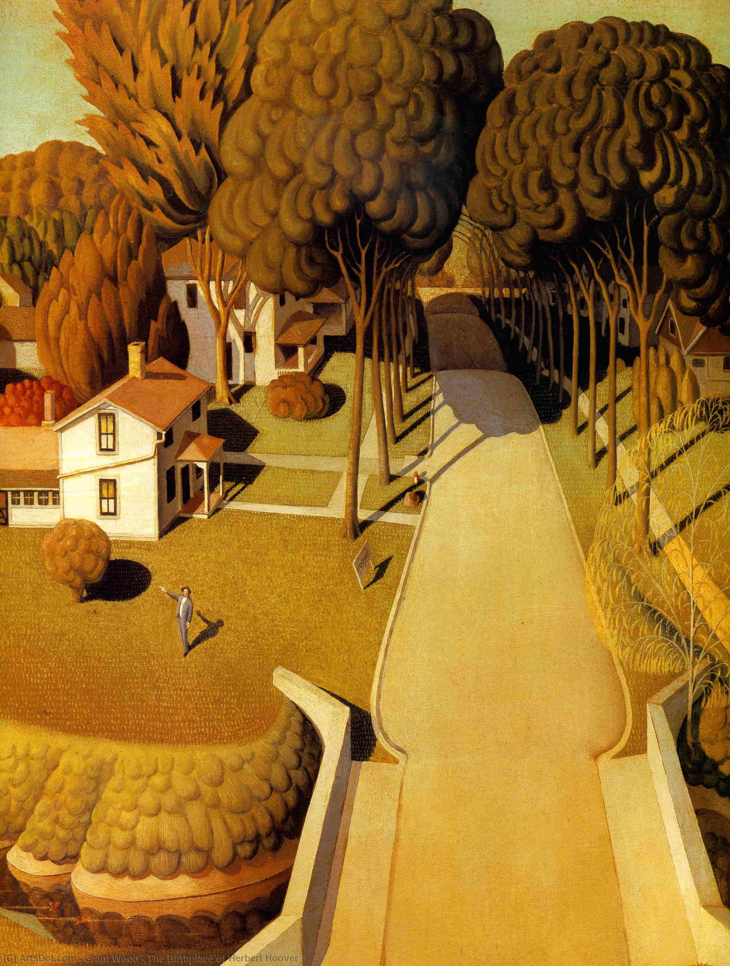 Wikioo.org - The Encyclopedia of Fine Arts - Painting, Artwork by Grant Wood - The Birthplace of Herbert Hoover