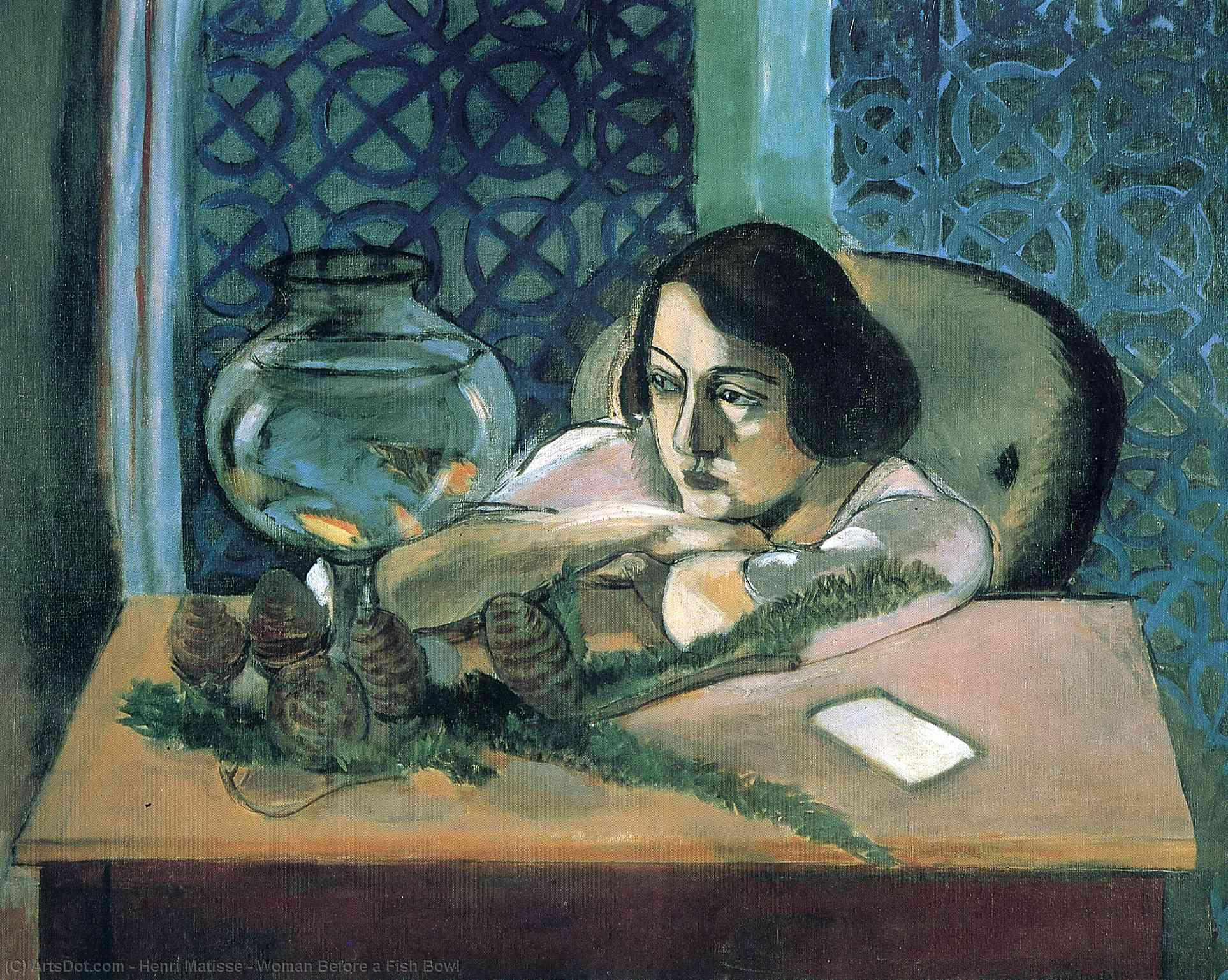Wikioo.org - The Encyclopedia of Fine Arts - Painting, Artwork by Henri Matisse - Woman Before a Fish Bowl