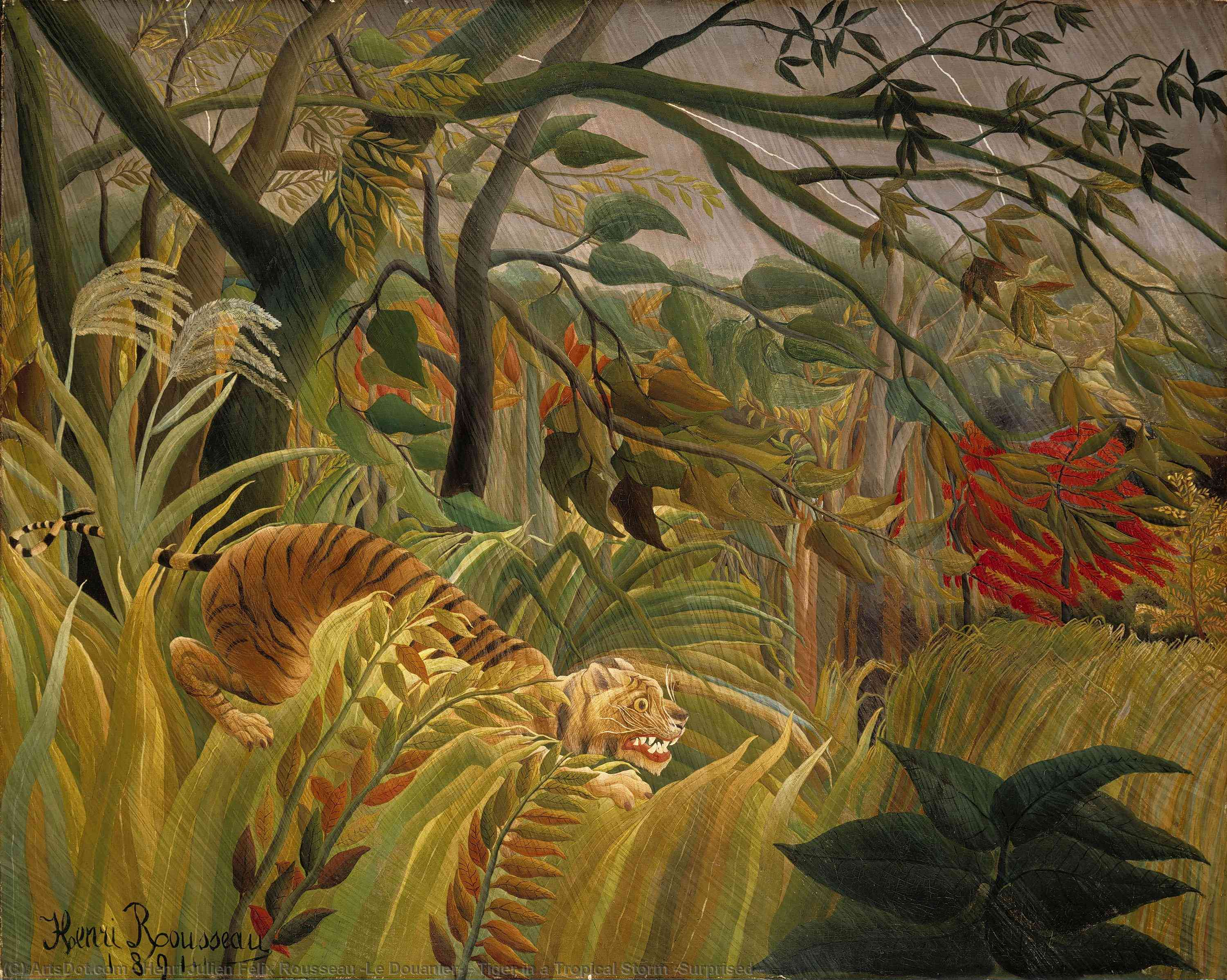 Wikioo.org - The Encyclopedia of Fine Arts - Painting, Artwork by Henri Julien Félix Rousseau (Le Douanier) - Tiger in a Tropical Storm (Surprised!)