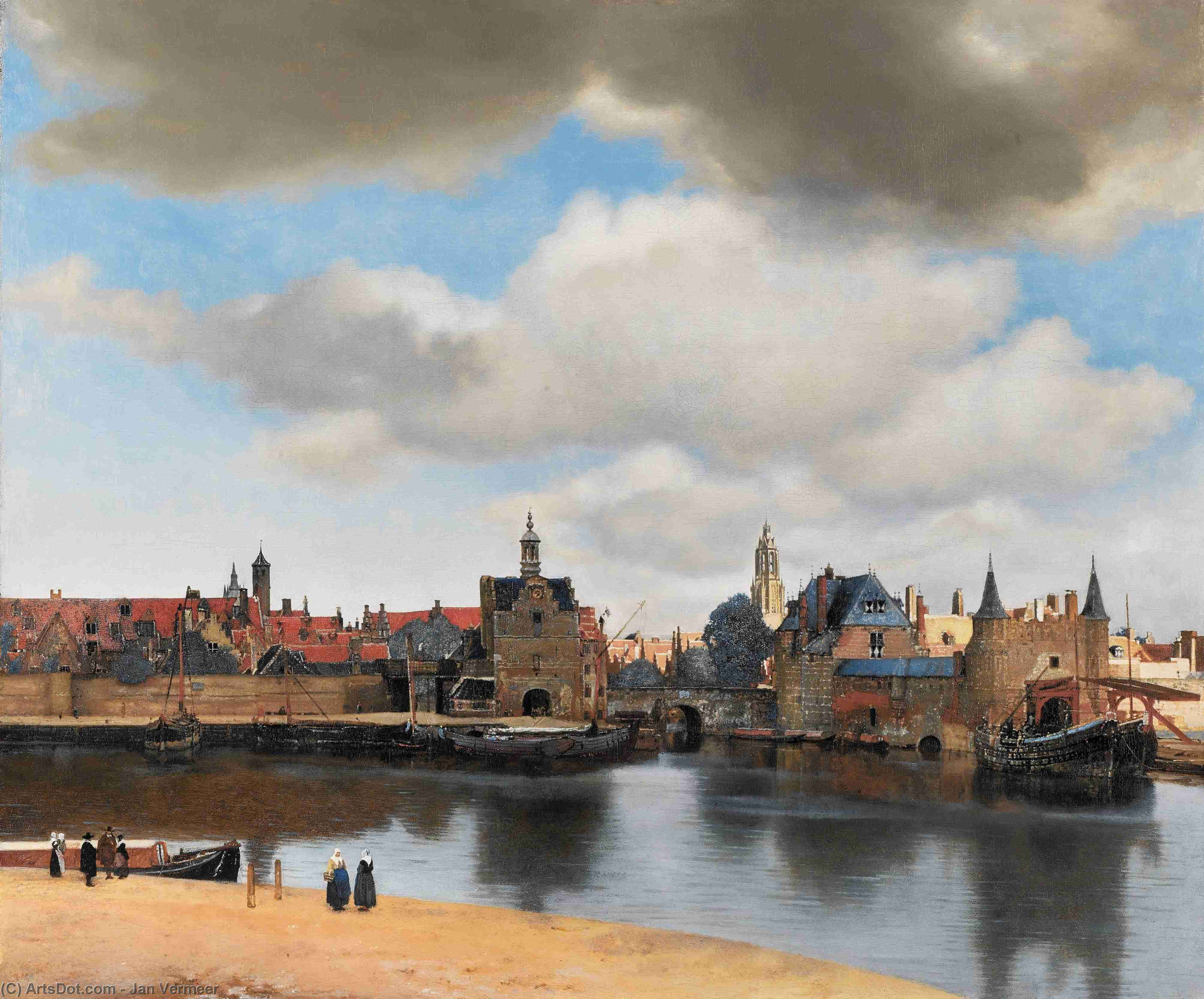Wikioo.org - The Encyclopedia of Fine Arts - Painting, Artwork by Jan Vermeer - View on Delft
