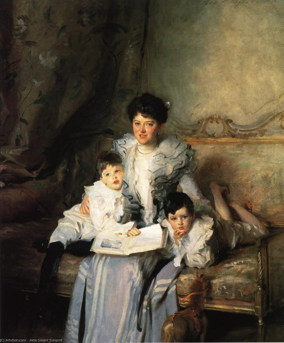 Wikioo.org - The Encyclopedia of Fine Arts - Painting, Artwork by John Singer Sargent - Mrs Knowles and her Children