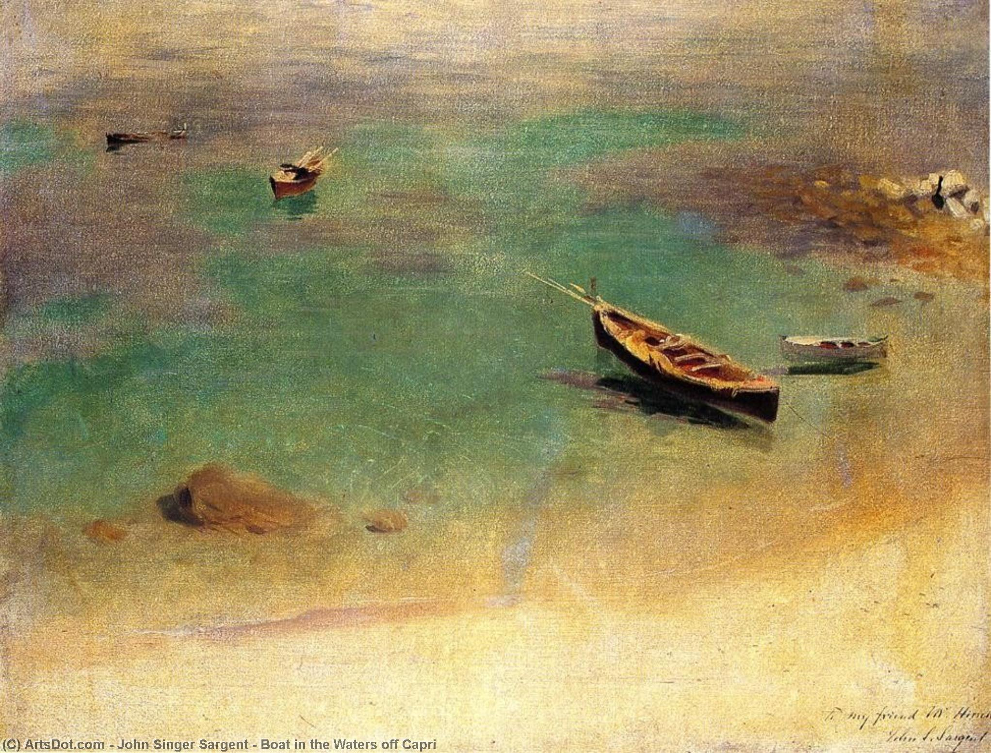 Wikioo.org - The Encyclopedia of Fine Arts - Painting, Artwork by John Singer Sargent - Boat in the Waters off Capri