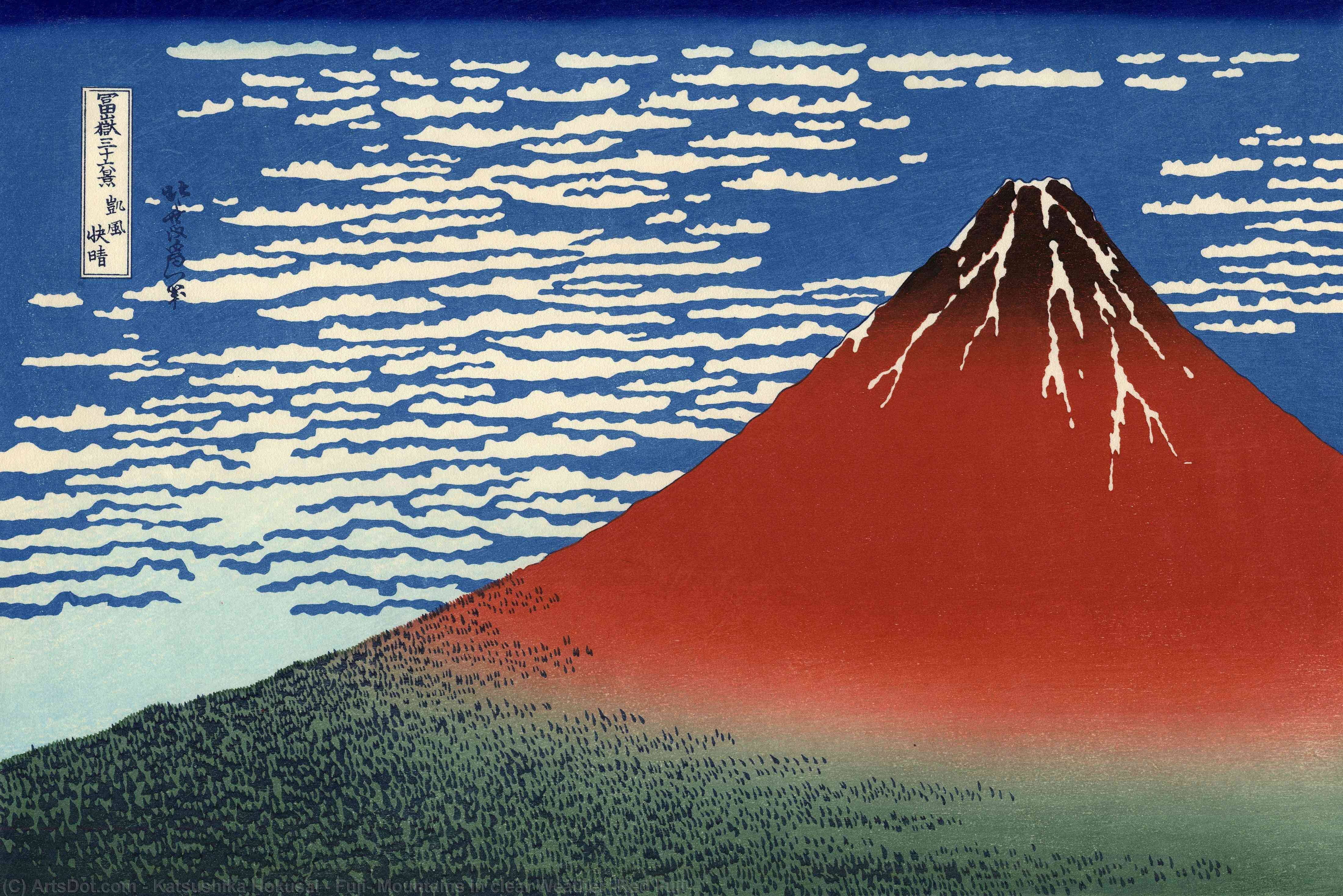 Wikioo.org - The Encyclopedia of Fine Arts - Painting, Artwork by Katsushika Hokusai - Fuji, Mountains in clear Weather (Red Fuji)