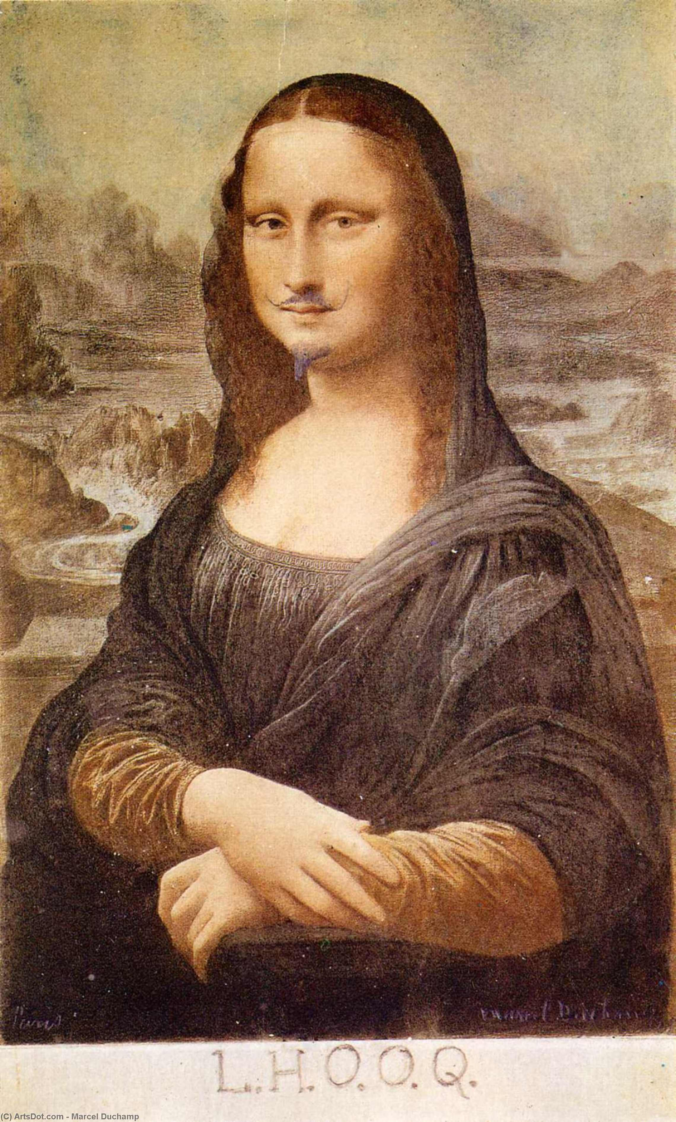 Wikioo.org - The Encyclopedia of Fine Arts - Painting, Artwork by Marcel Duchamp - L.H.O.O.Q, Mona Lisa with moustache