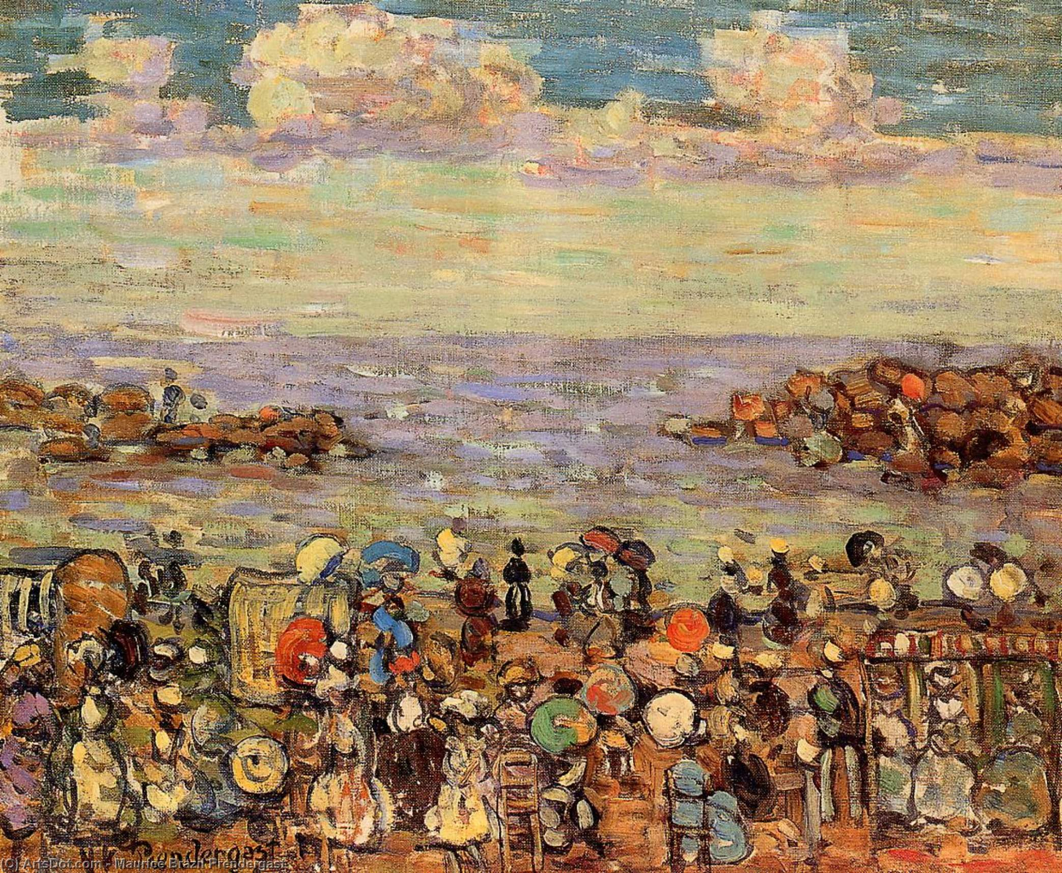 Wikioo.org - The Encyclopedia of Fine Arts - Painting, Artwork by Maurice Brazil Prendergast - Beach at St. Malo