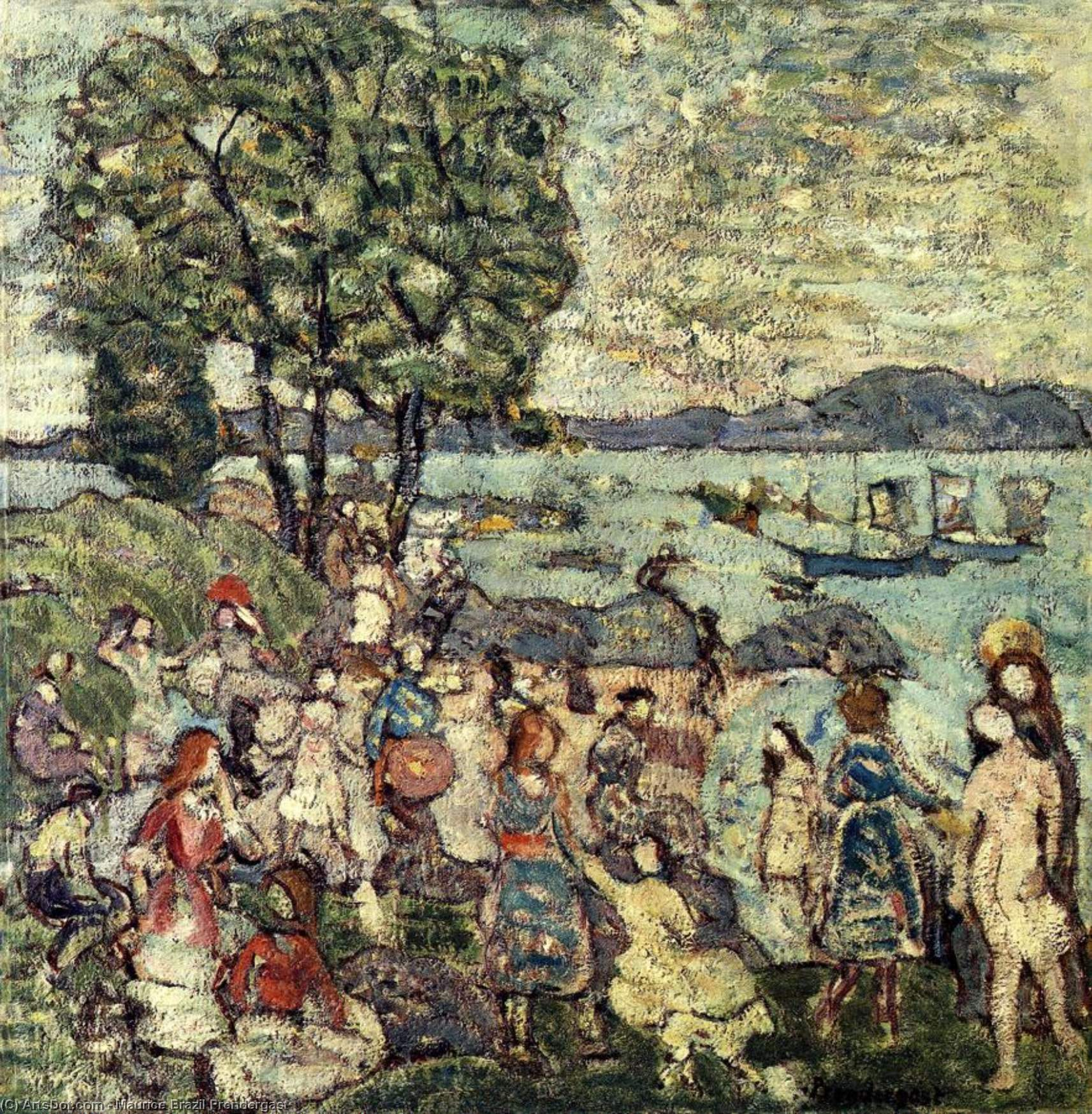 Wikioo.org - The Encyclopedia of Fine Arts - Painting, Artwork by Maurice Brazil Prendergast - The Bathing Cove