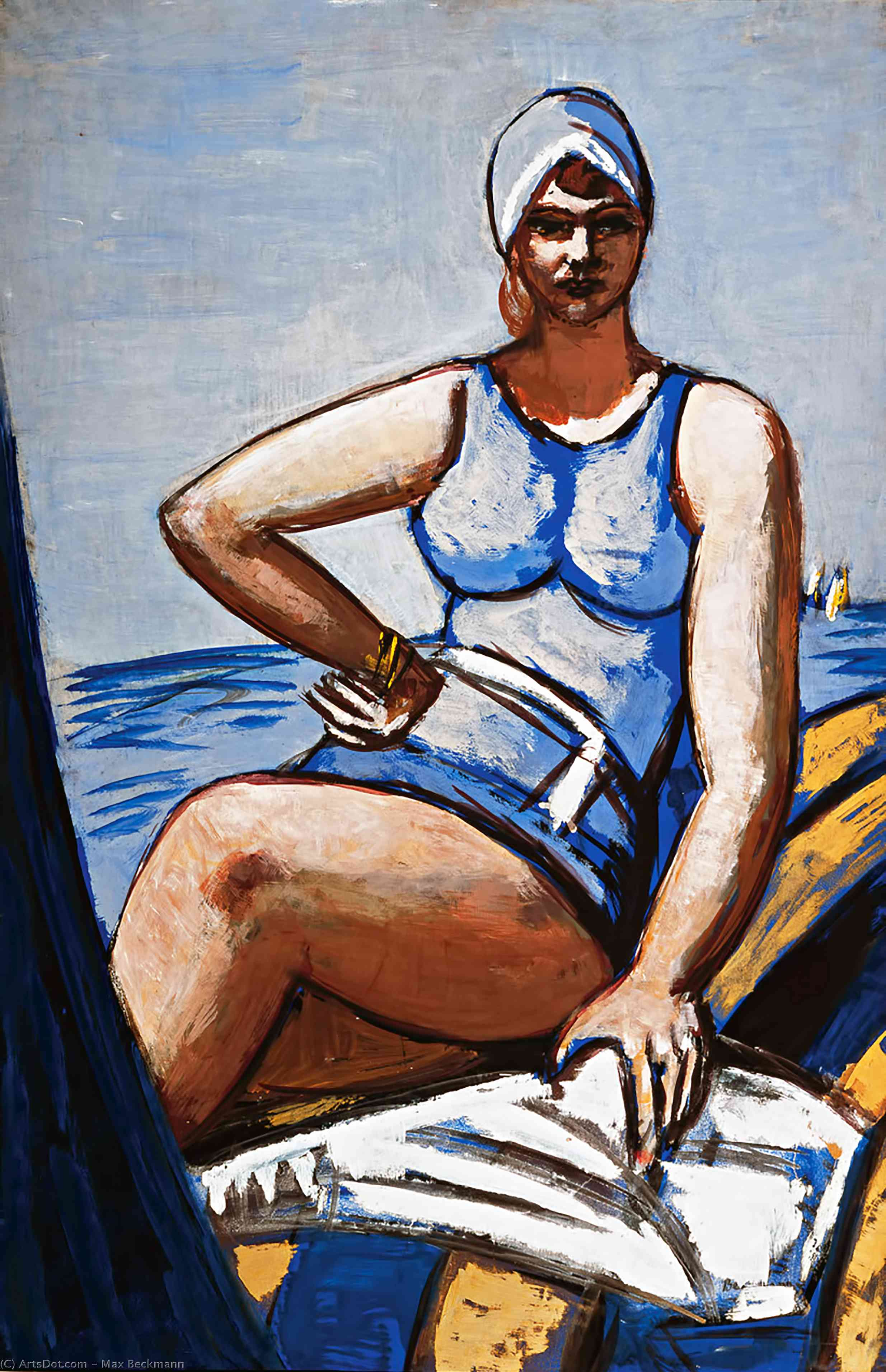 Wikioo.org - The Encyclopedia of Fine Arts - Painting, Artwork by Max Beckmann - Quappi in blue in a boat