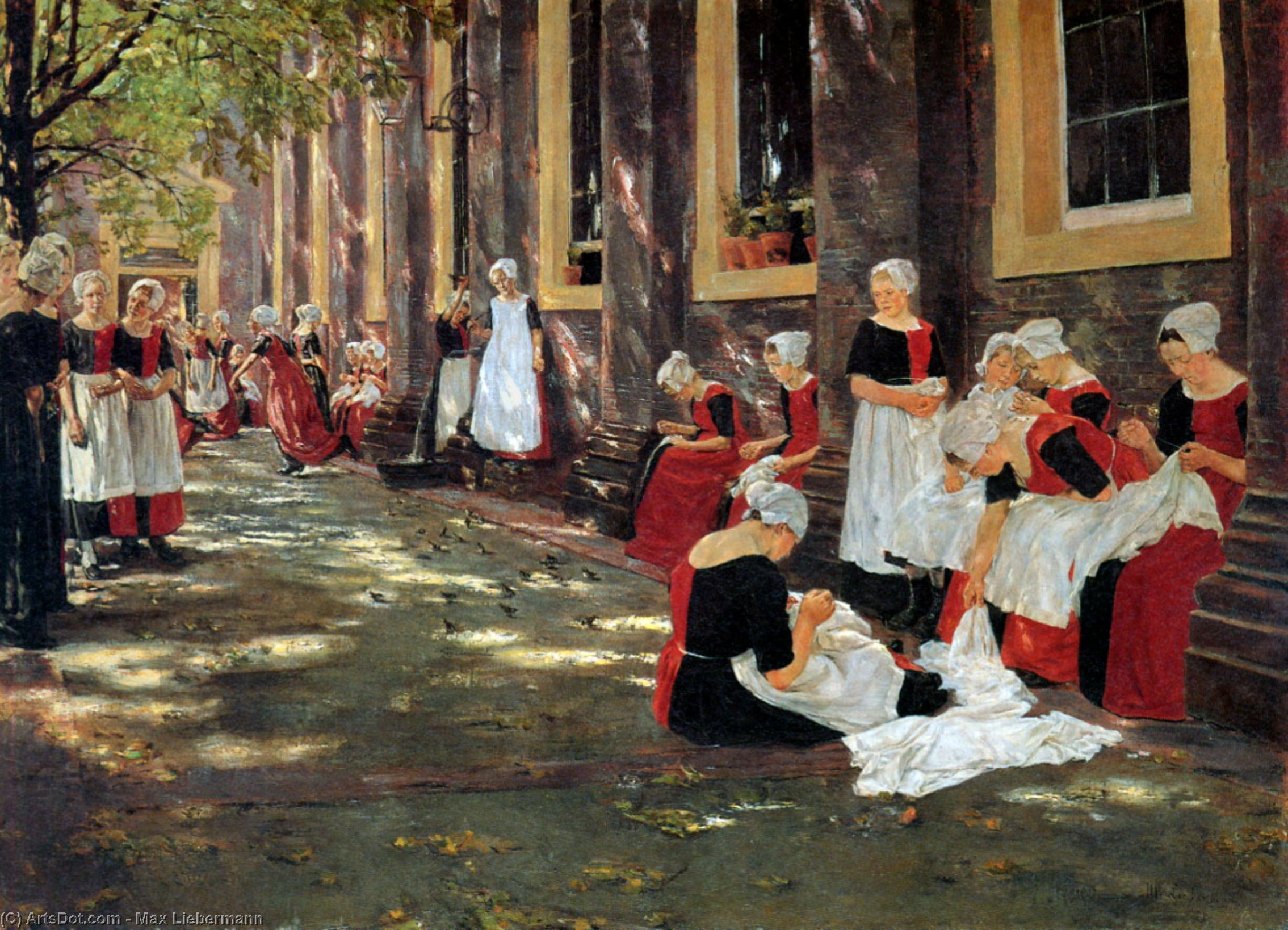 Wikioo.org - The Encyclopedia of Fine Arts - Painting, Artwork by Max Liebermann - Free hour at Amsterdam orphanage