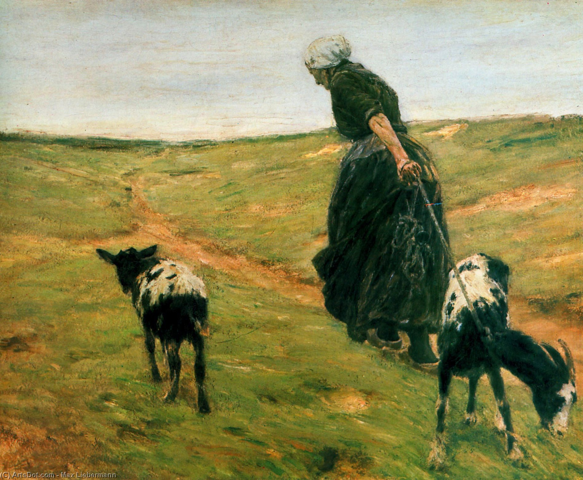 Wikioo.org - The Encyclopedia of Fine Arts - Painting, Artwork by Max Liebermann - Woman with goats