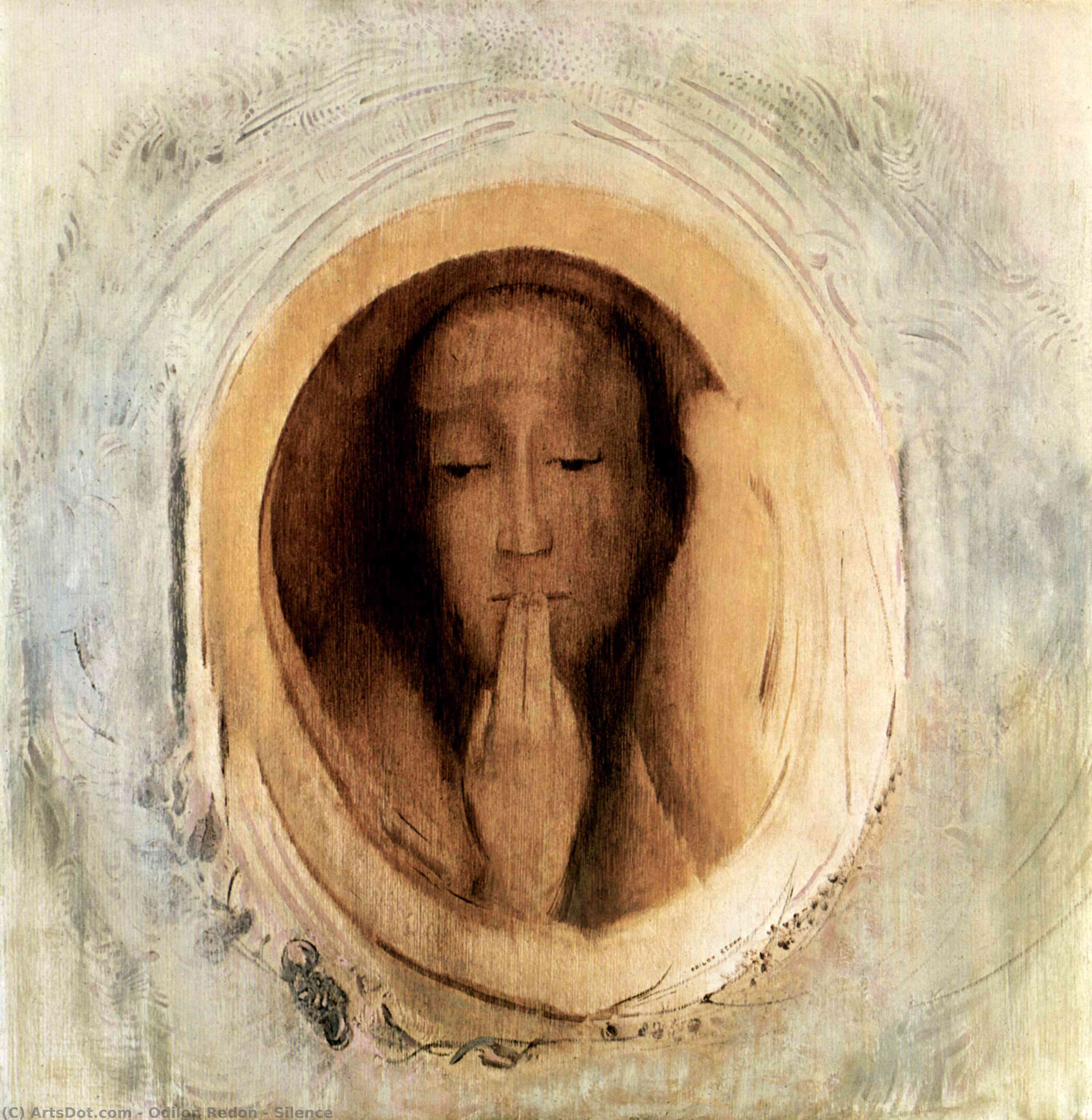 Wikoo.org - موسوعة الفنون الجميلة - اللوحة، العمل الفني Odilon Redon - Silence