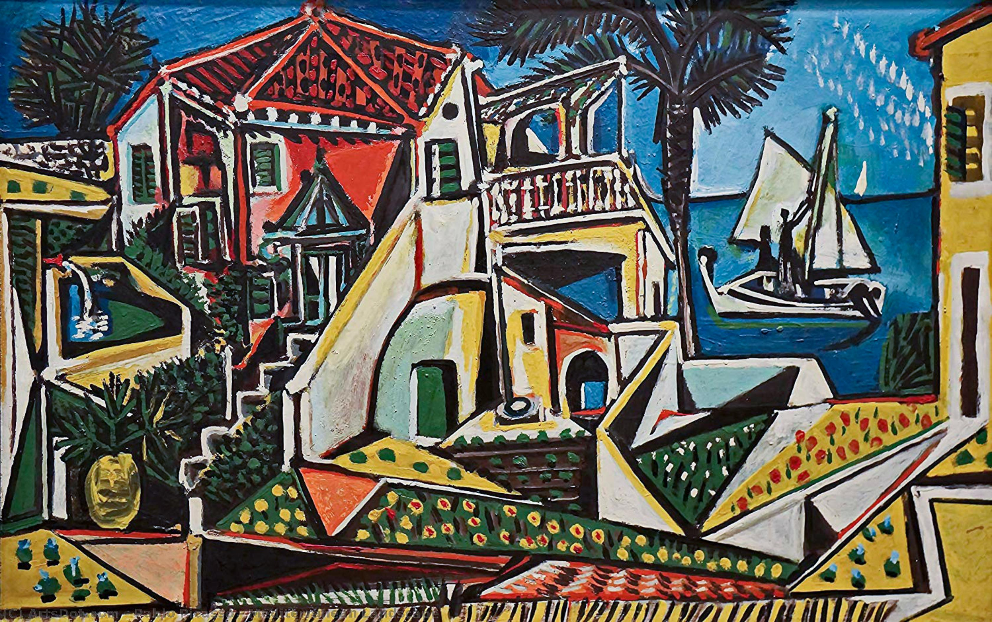 Wikioo.org - The Encyclopedia of Fine Arts - Painting, Artwork by Pablo Picasso - Mediterranean Landscape