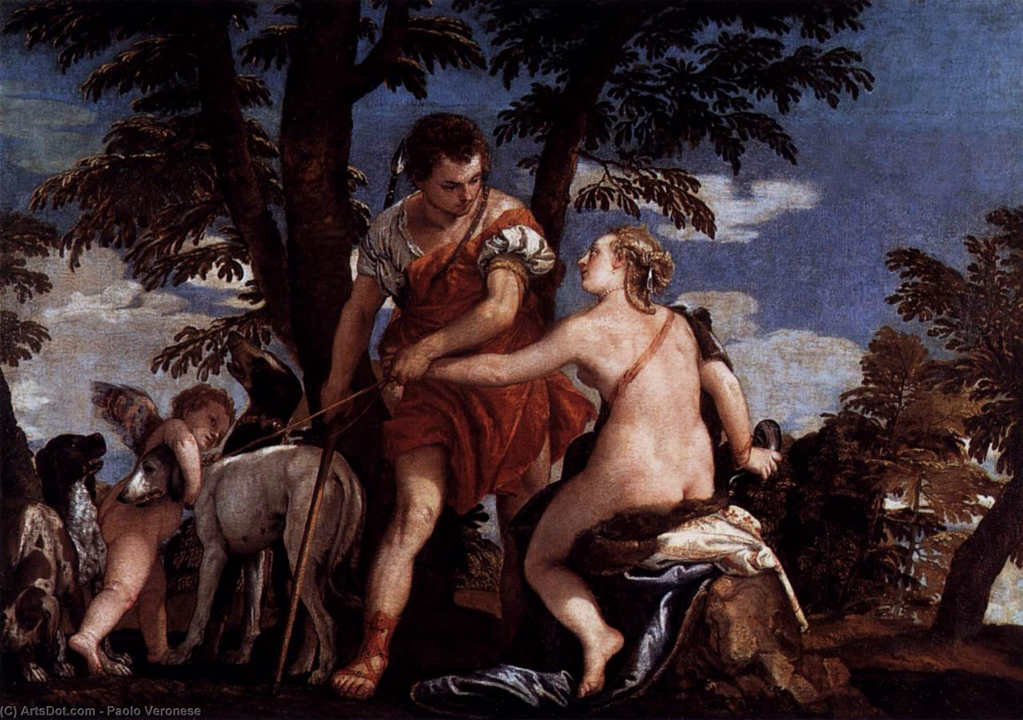 Wikioo.org - The Encyclopedia of Fine Arts - Painting, Artwork by Paolo Veronese - Venus and Adonis