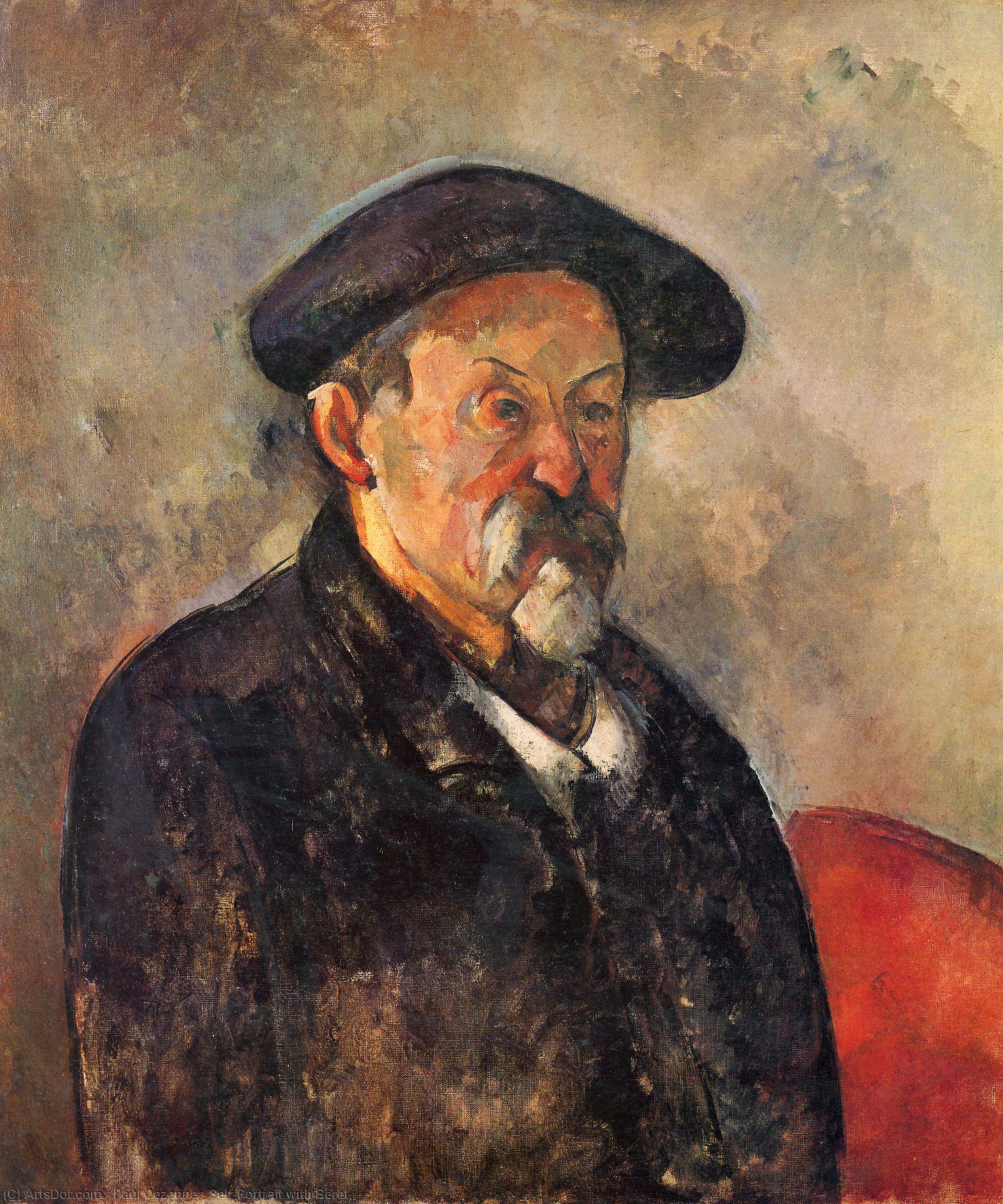 Wikioo.org - The Encyclopedia of Fine Arts - Painting, Artwork by Paul Cezanne - Self-Portrait with Beret