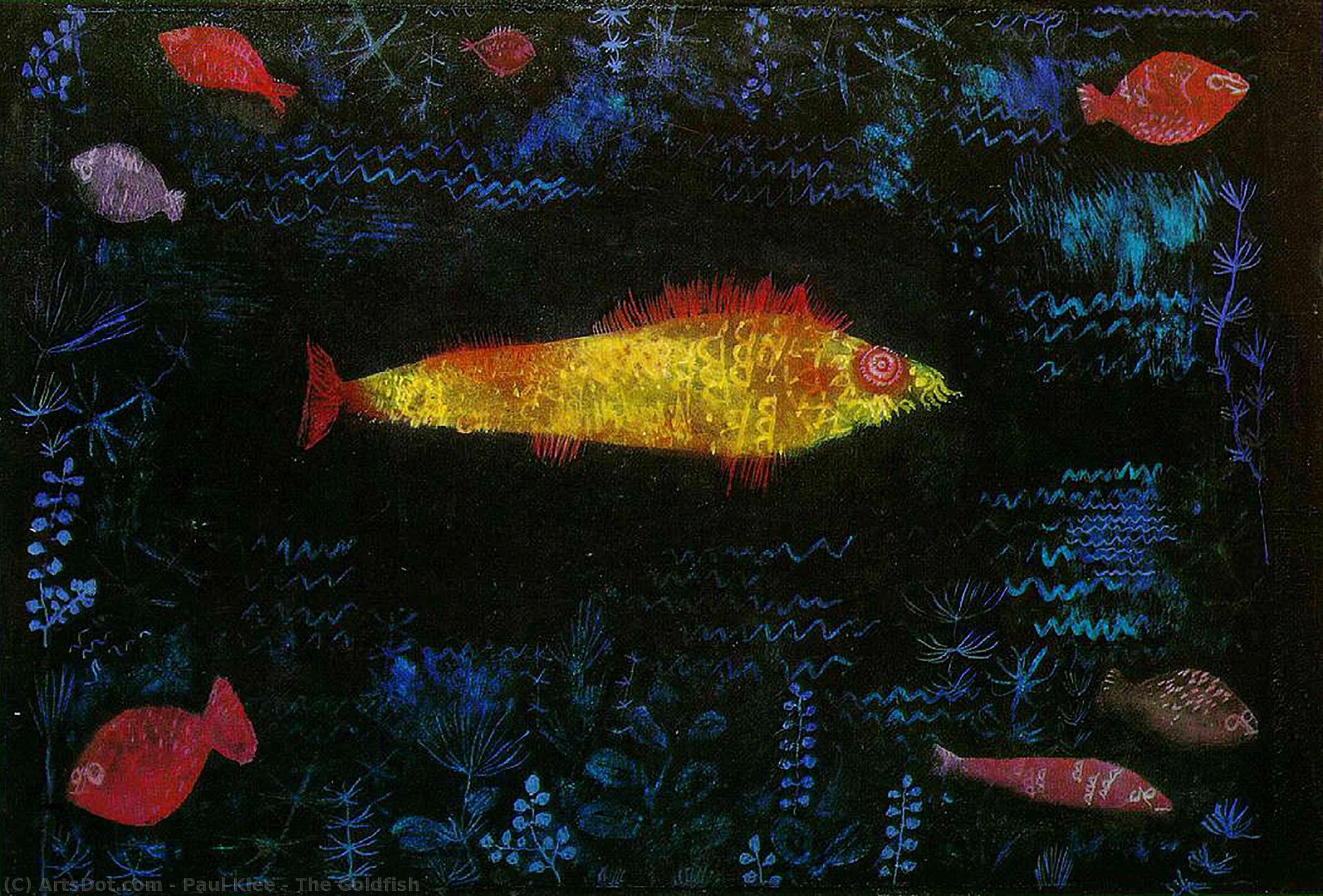 Wikoo.org - موسوعة الفنون الجميلة - اللوحة، العمل الفني Paul Klee - The Goldfish
