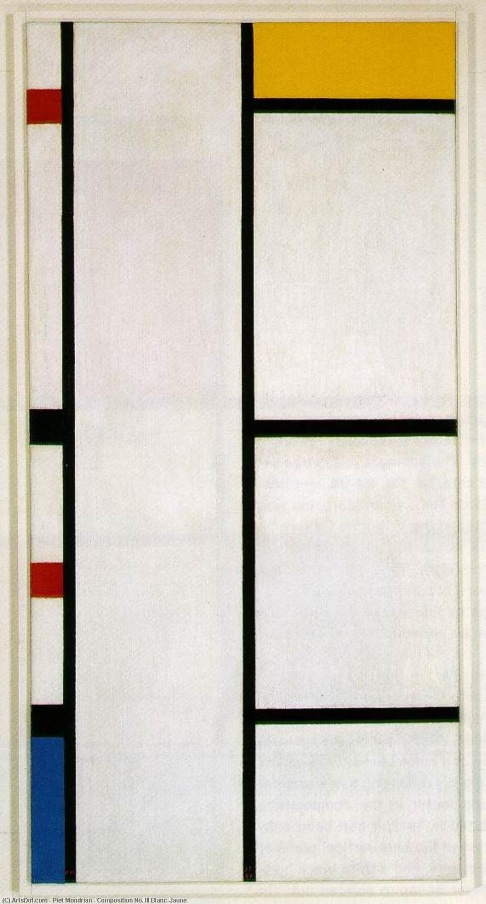 Wikioo.org – L'Enciclopedia delle Belle Arti - Pittura, Opere di Piet Mondrian - composizione nº . III Blanc-Jaune