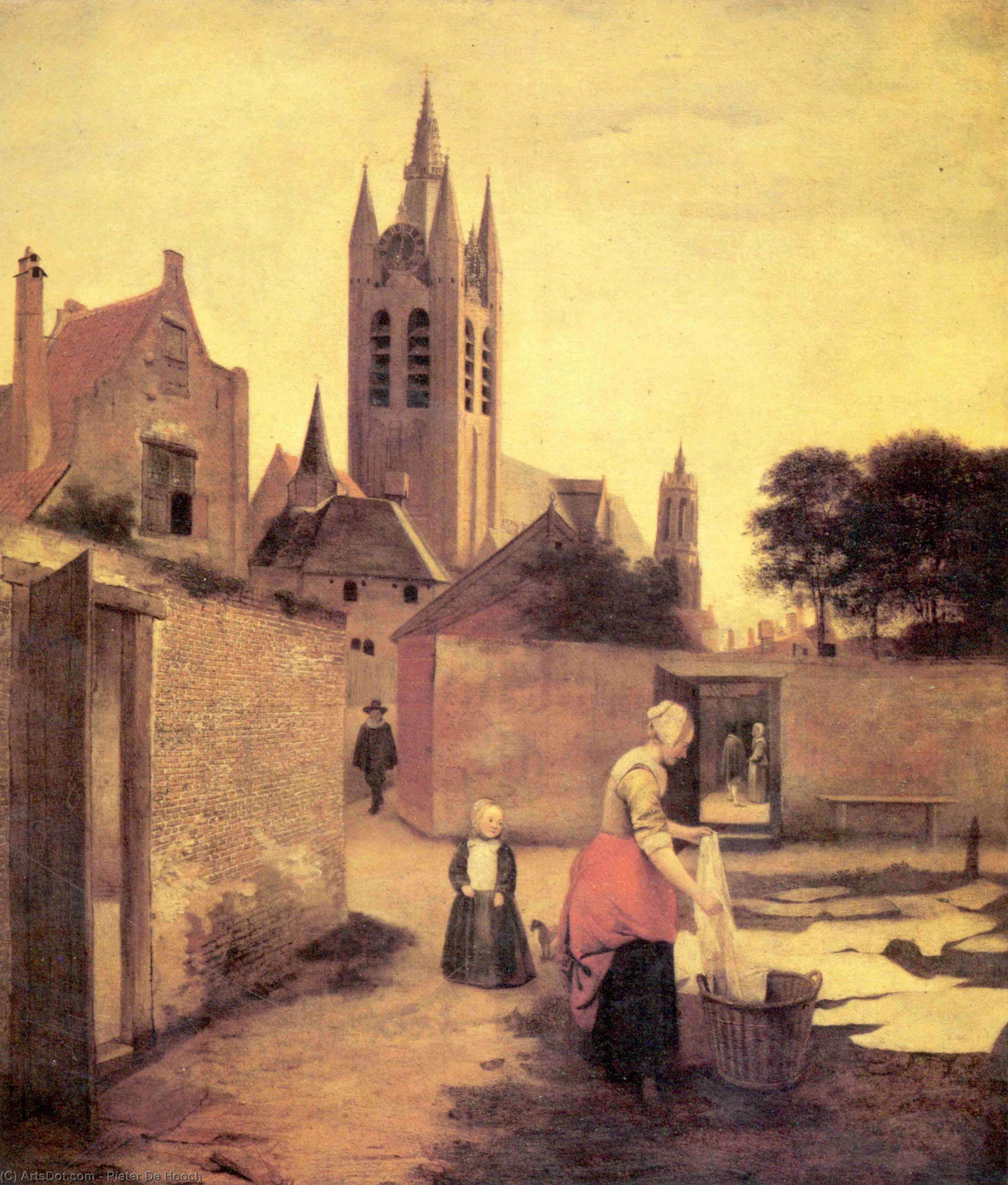 Wikioo.org - The Encyclopedia of Fine Arts - Painting, Artwork by Pieter De Hooch - A woman and a child on a Bleichwiese
