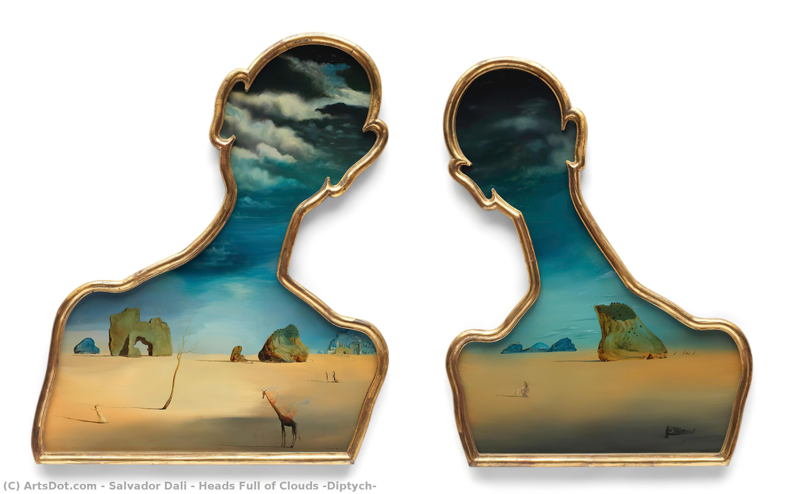 Wikioo.org - The Encyclopedia of Fine Arts - Painting, Artwork by Salvador Dali - Heads Full of Clouds (Diptych)