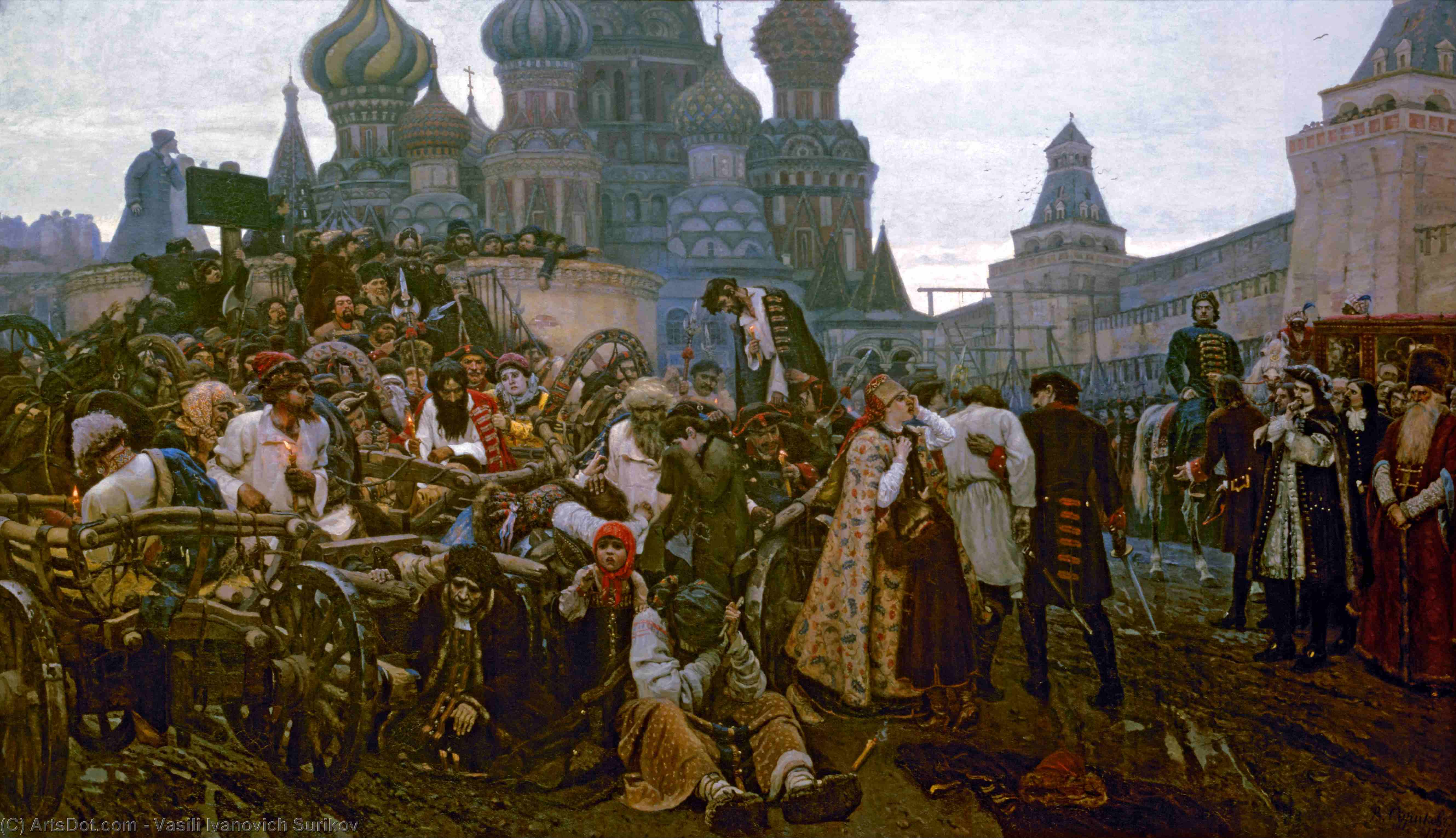 Wikioo.org - The Encyclopedia of Fine Arts - Painting, Artwork by Vasili Ivanovich Surikov - Morning of the Strelets' Execution