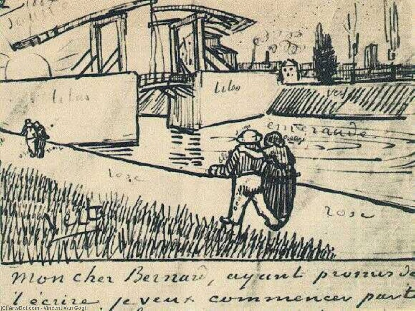 Wikioo.org - The Encyclopedia of Fine Arts - Painting, Artwork by Vincent Van Gogh - Drawbridge with Walking Couple