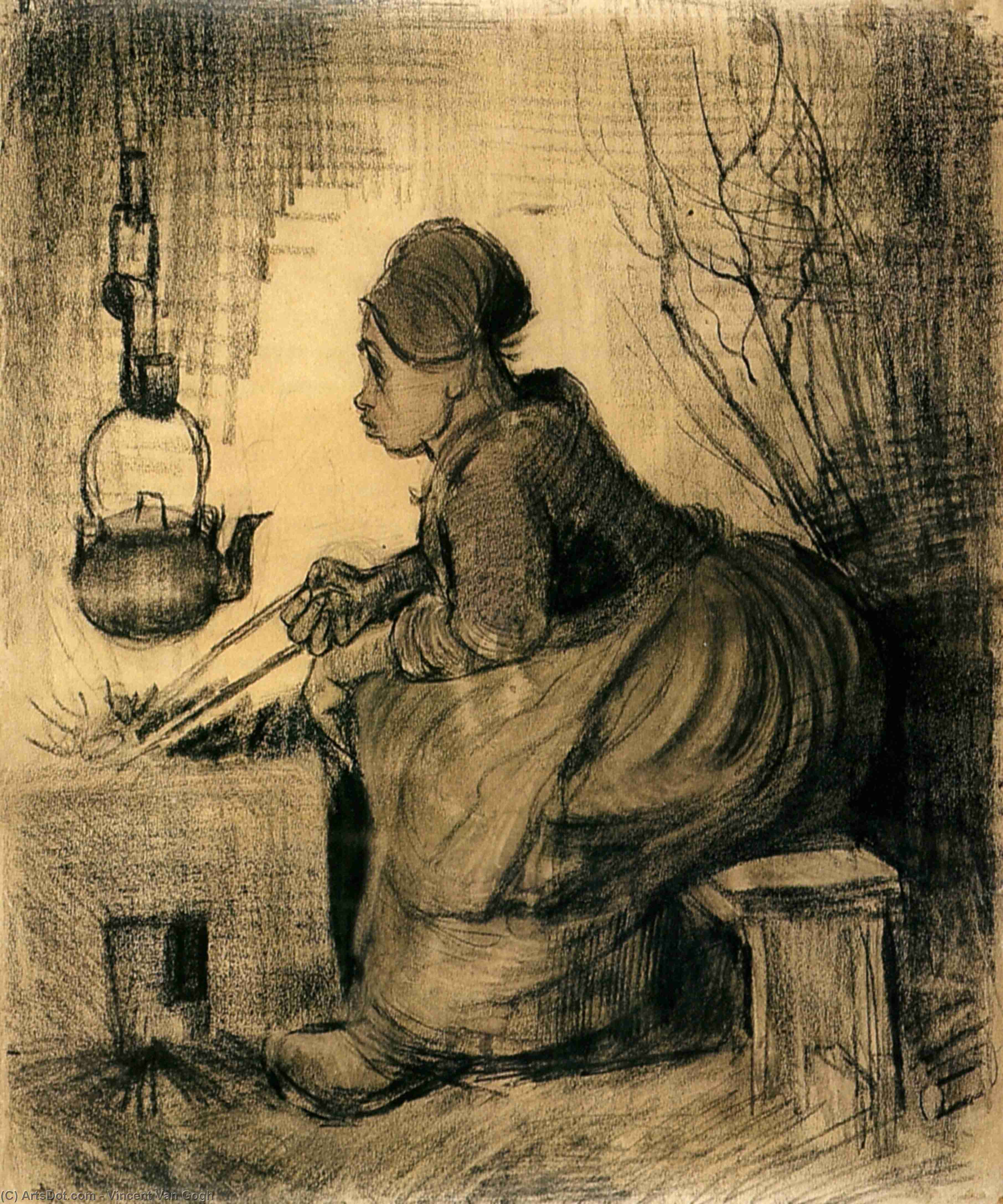 Wikioo.org - The Encyclopedia of Fine Arts - Painting, Artwork by Vincent Van Gogh - Woman by a Hearth