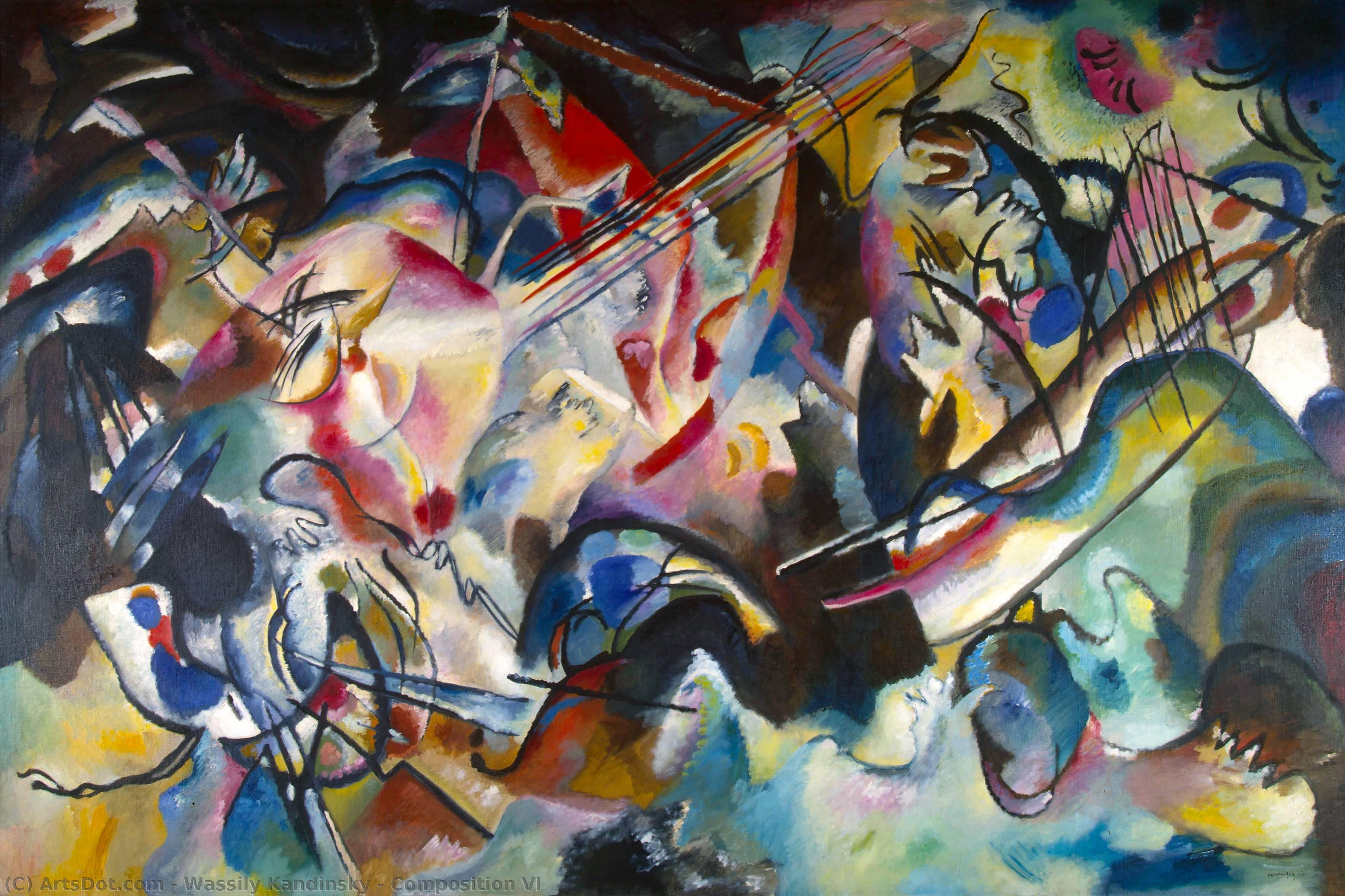 Wikoo.org - موسوعة الفنون الجميلة - اللوحة، العمل الفني Wassily Kandinsky - Composition VI