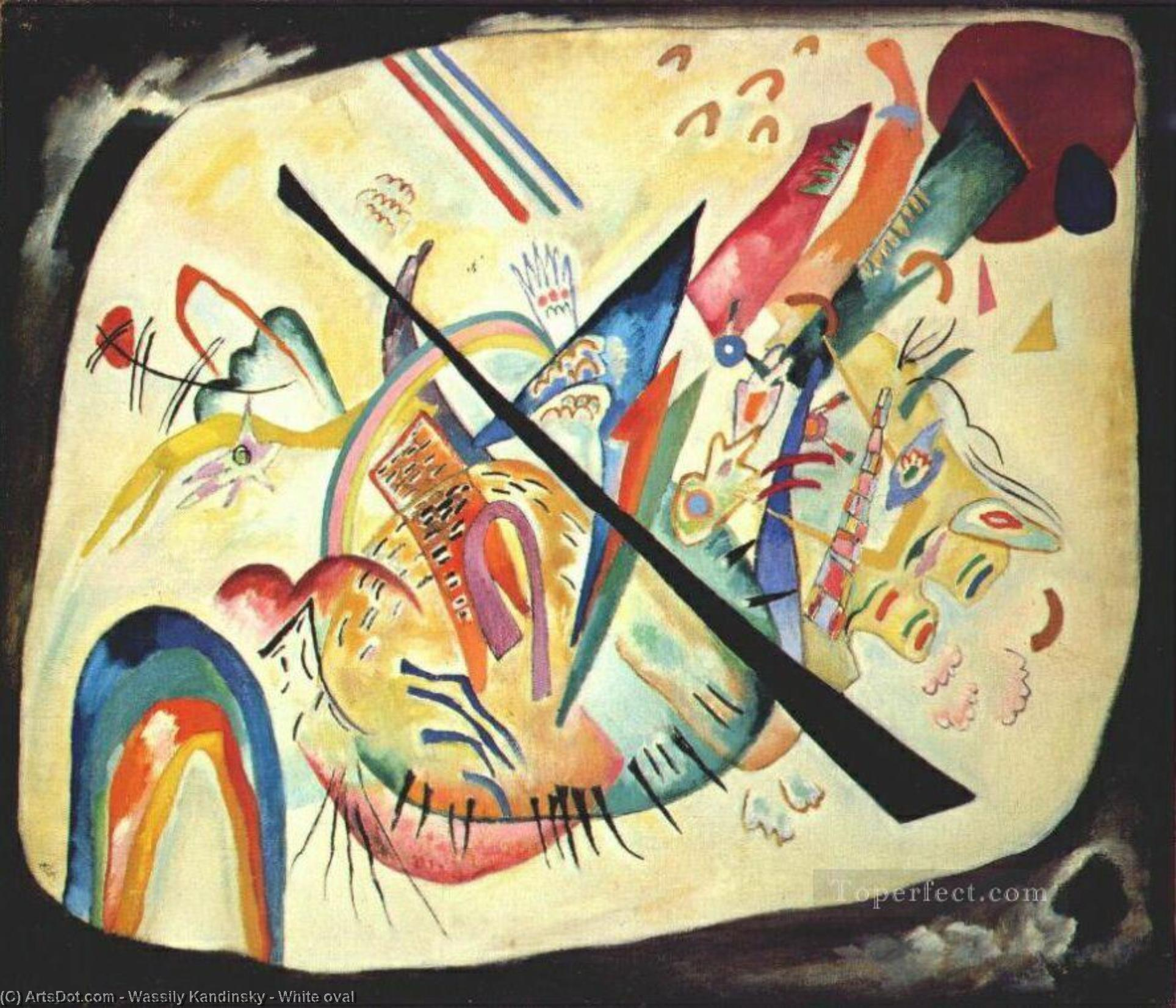 Wikioo.org - The Encyclopedia of Fine Arts - Painting, Artwork by Wassily Kandinsky - White oval