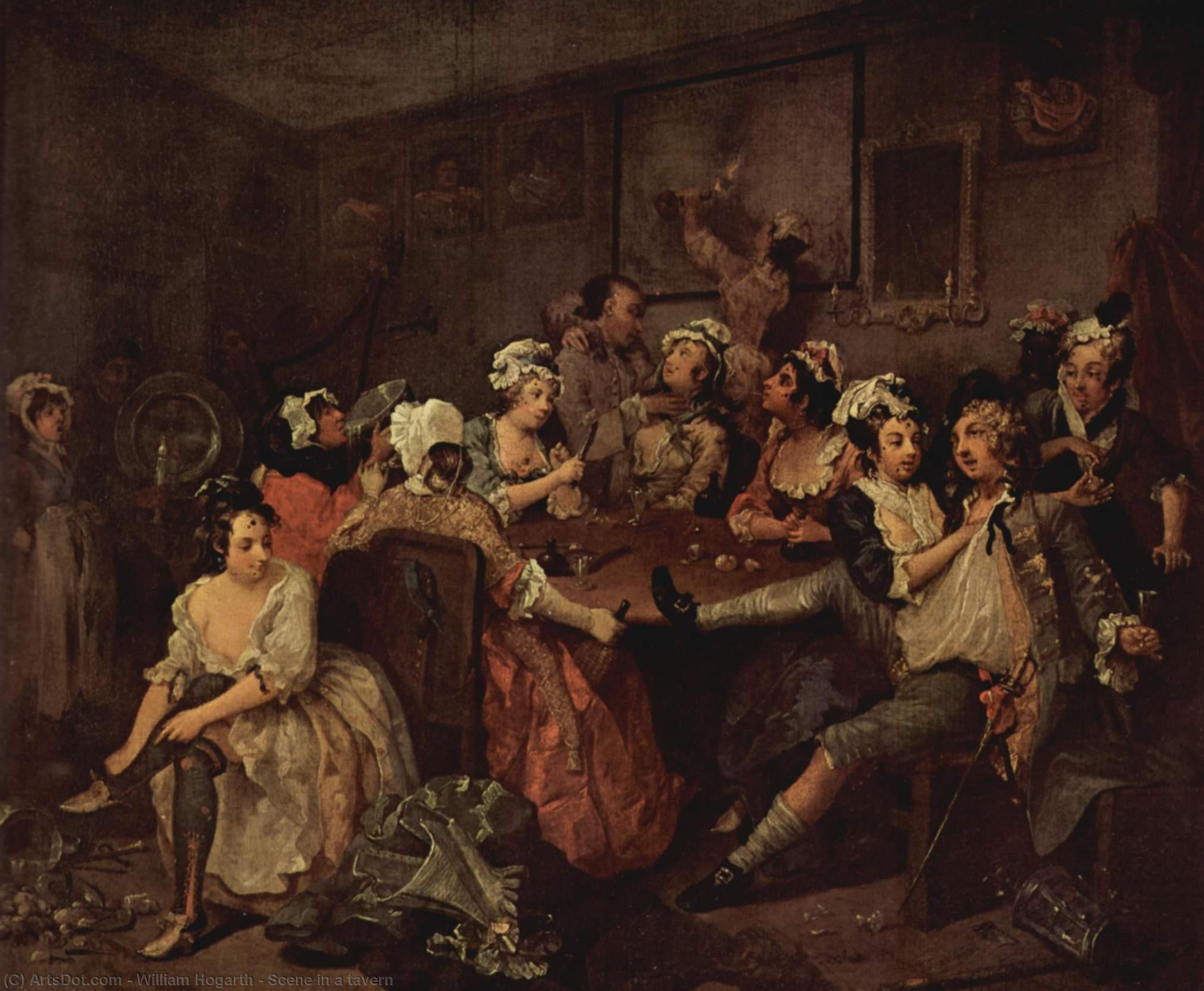 WikiOO.org - Enciklopedija dailės - Tapyba, meno kuriniai William Hogarth - Scene in a tavern