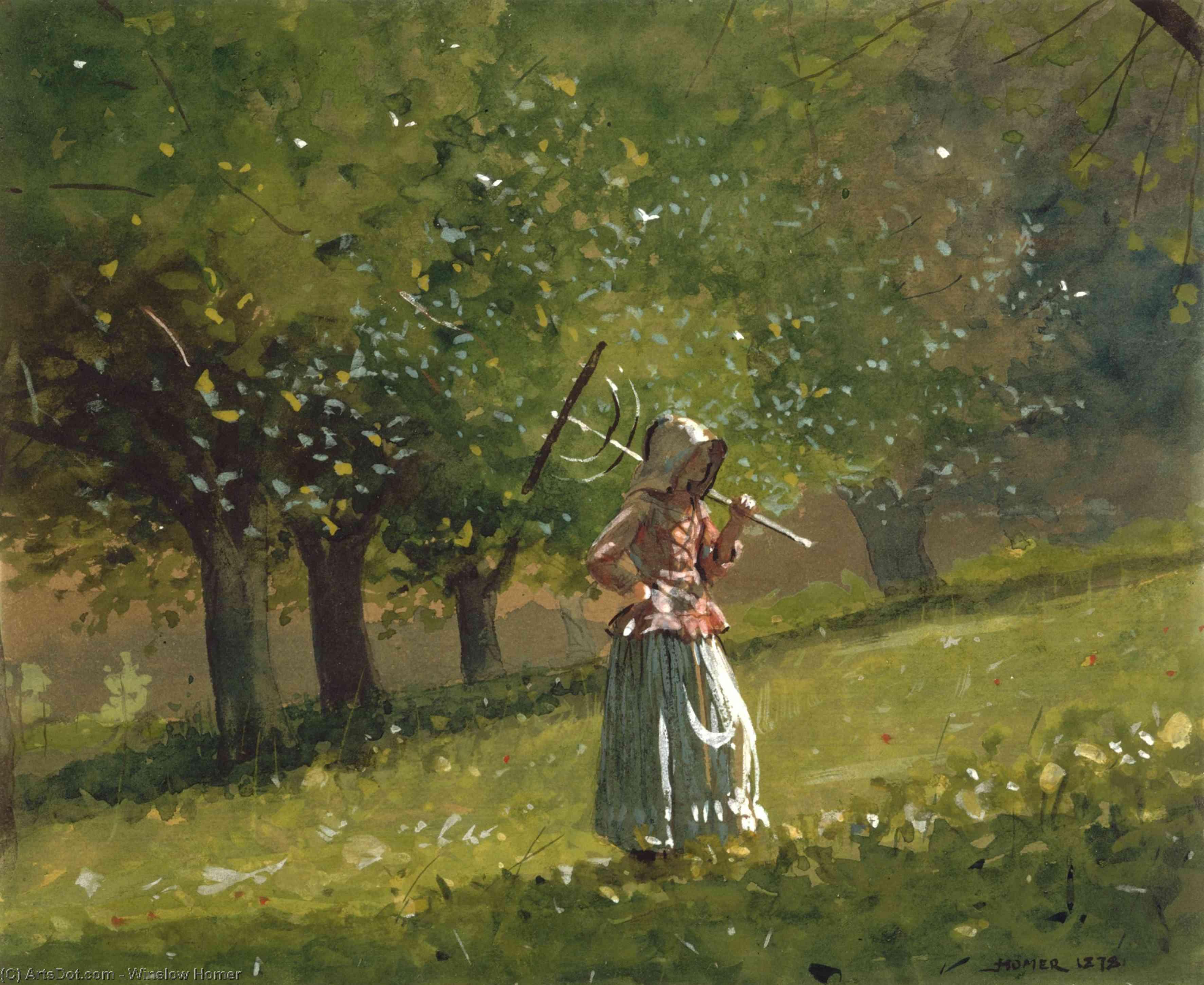 Wikioo.org – La Enciclopedia de las Bellas Artes - Pintura, Obras de arte de Winslow Homer - chica con heno  rastrillo