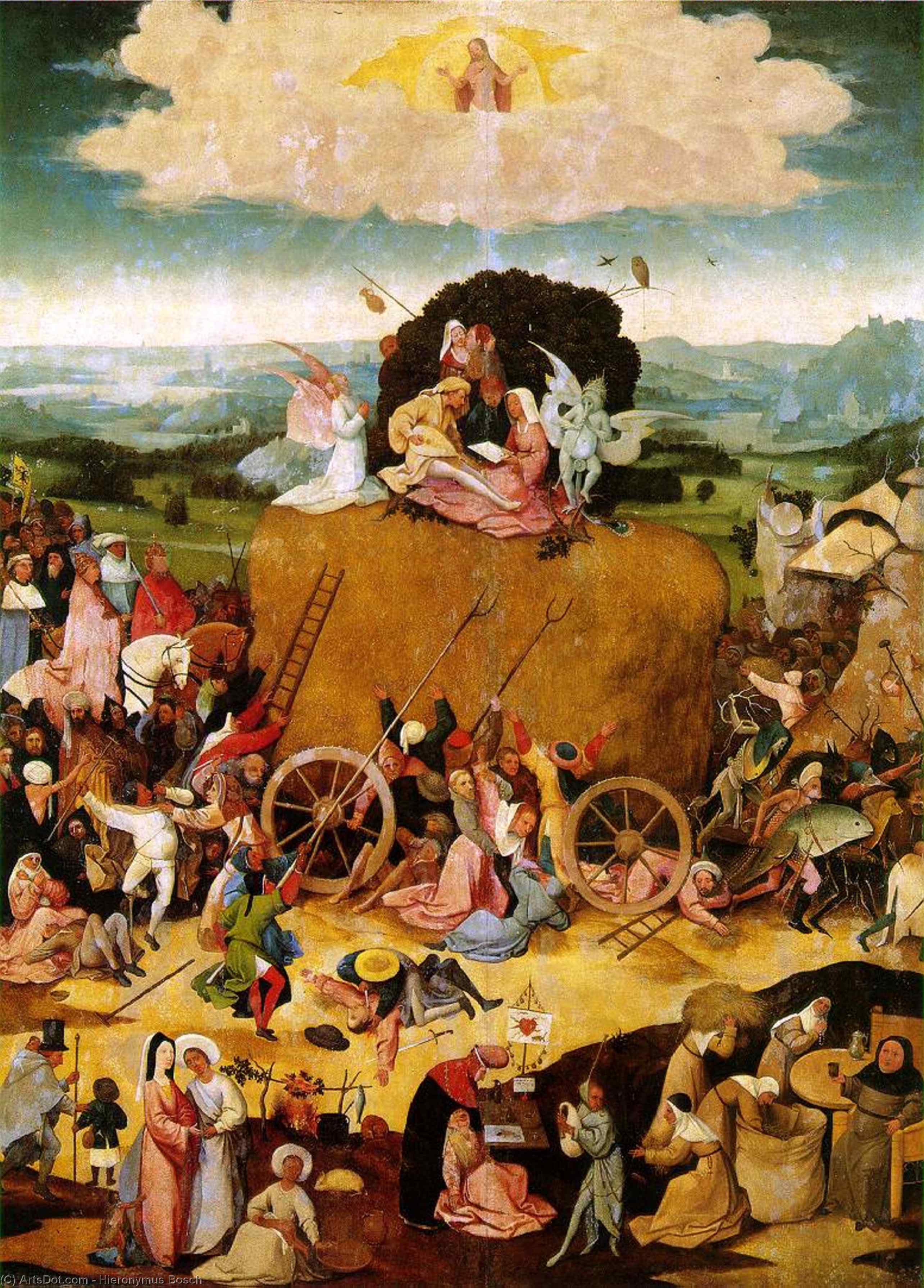 Wikioo.org - The Encyclopedia of Fine Arts - Painting, Artwork by Hieronymus Bosch - Triptych of Haywain (central panel)