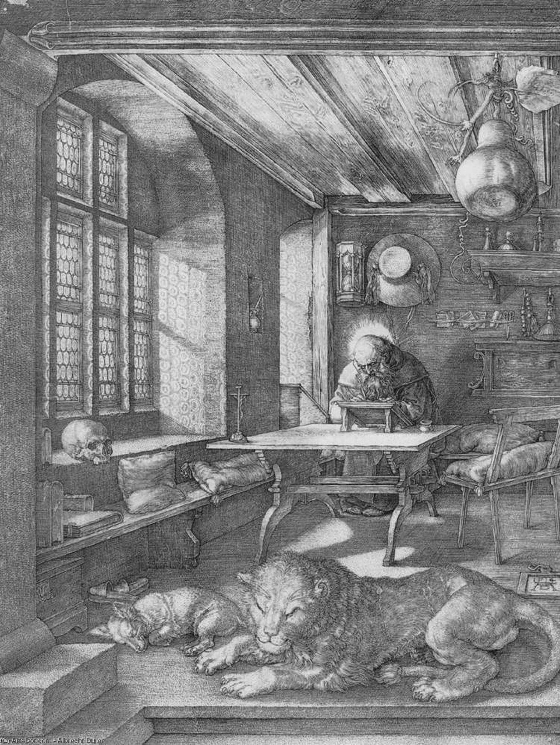 Wikioo.org - The Encyclopedia of Fine Arts - Painting, Artwork by Albrecht Durer - St Jerome in his Study