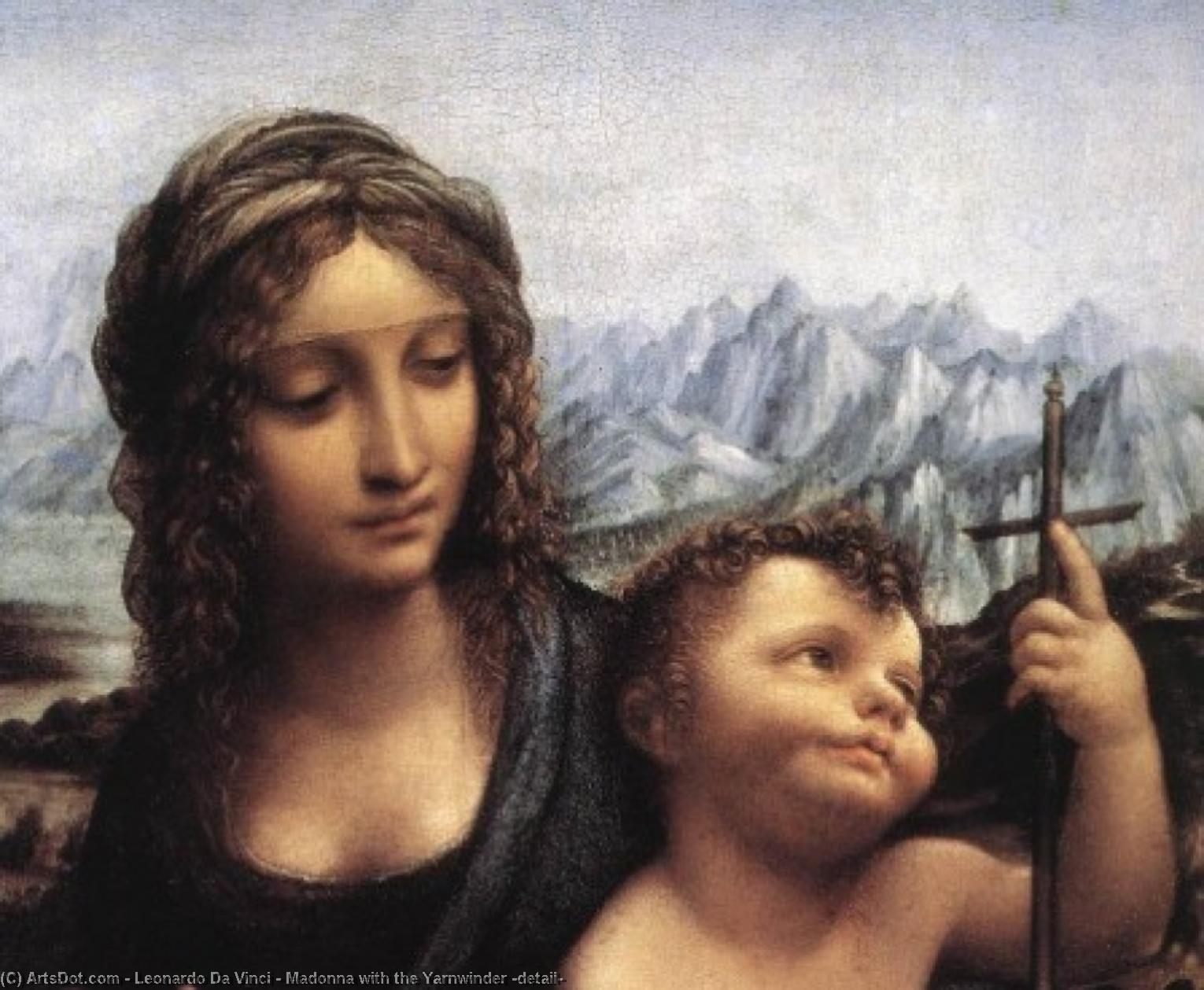 Wikioo.org - The Encyclopedia of Fine Arts - Painting, Artwork by Leonardo Da Vinci - Madonna with the Yarnwinder (detail)