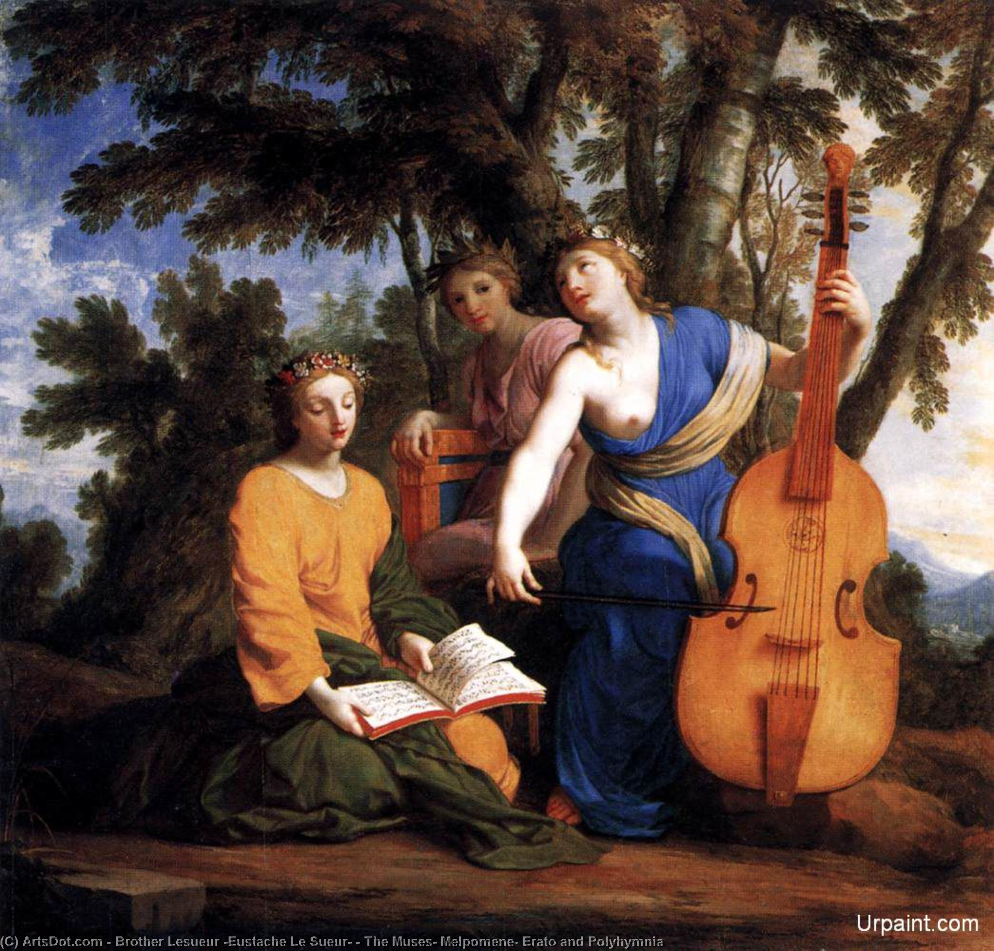 Wikioo.org - The Encyclopedia of Fine Arts - Painting, Artwork by Brother Lesueur (Eustache Le Sueur) - The Muses: Melpomene, Erato and Polyhymnia