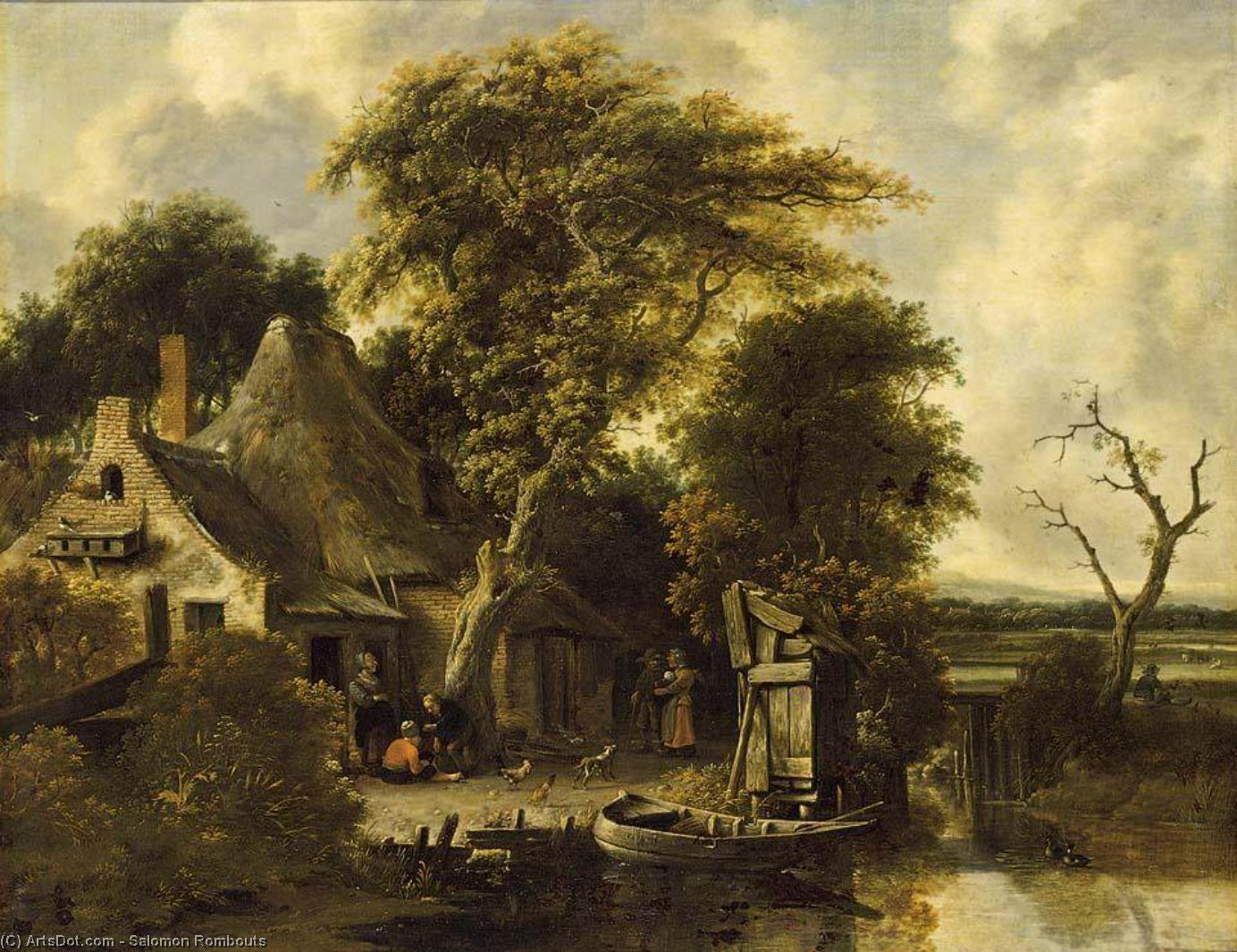 Wikioo.org - The Encyclopedia of Fine Arts - Painting, Artwork by Salomon Rombouts - Wooded Landscape